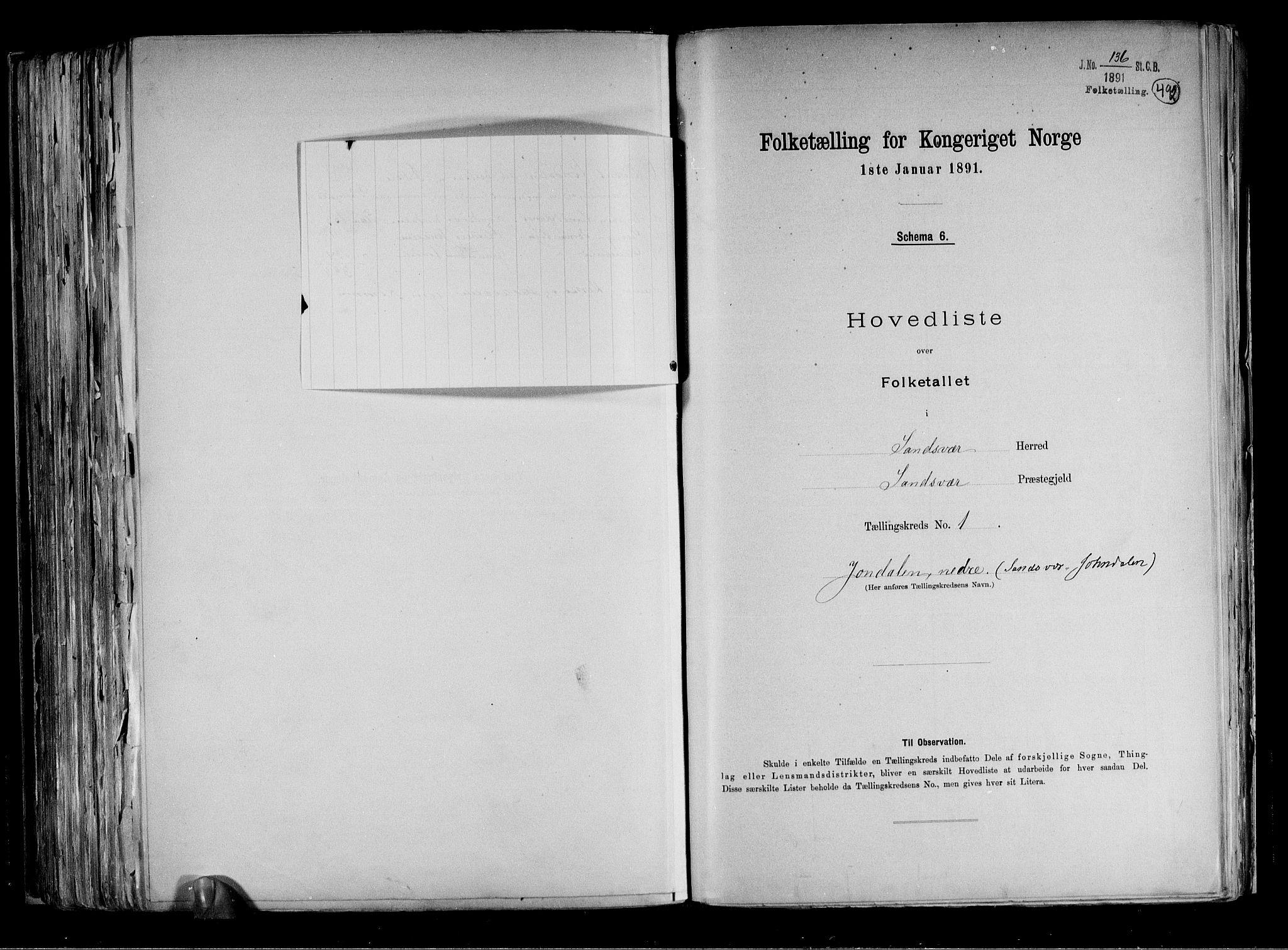 RA, Folketelling 1891 for 0629 Sandsvær herred, 1891, s. 36