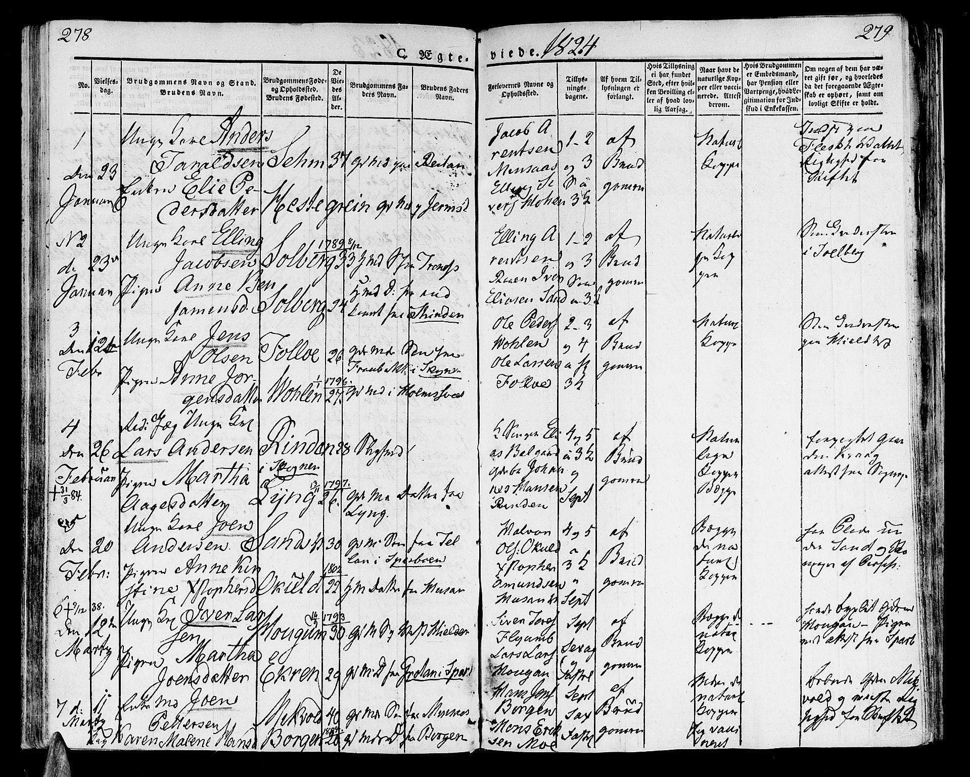 SAT, Ministerialprotokoller, klokkerbøker og fødselsregistre - Nord-Trøndelag, 723/L0237: Ministerialbok nr. 723A06, 1822-1830, s. 278-279