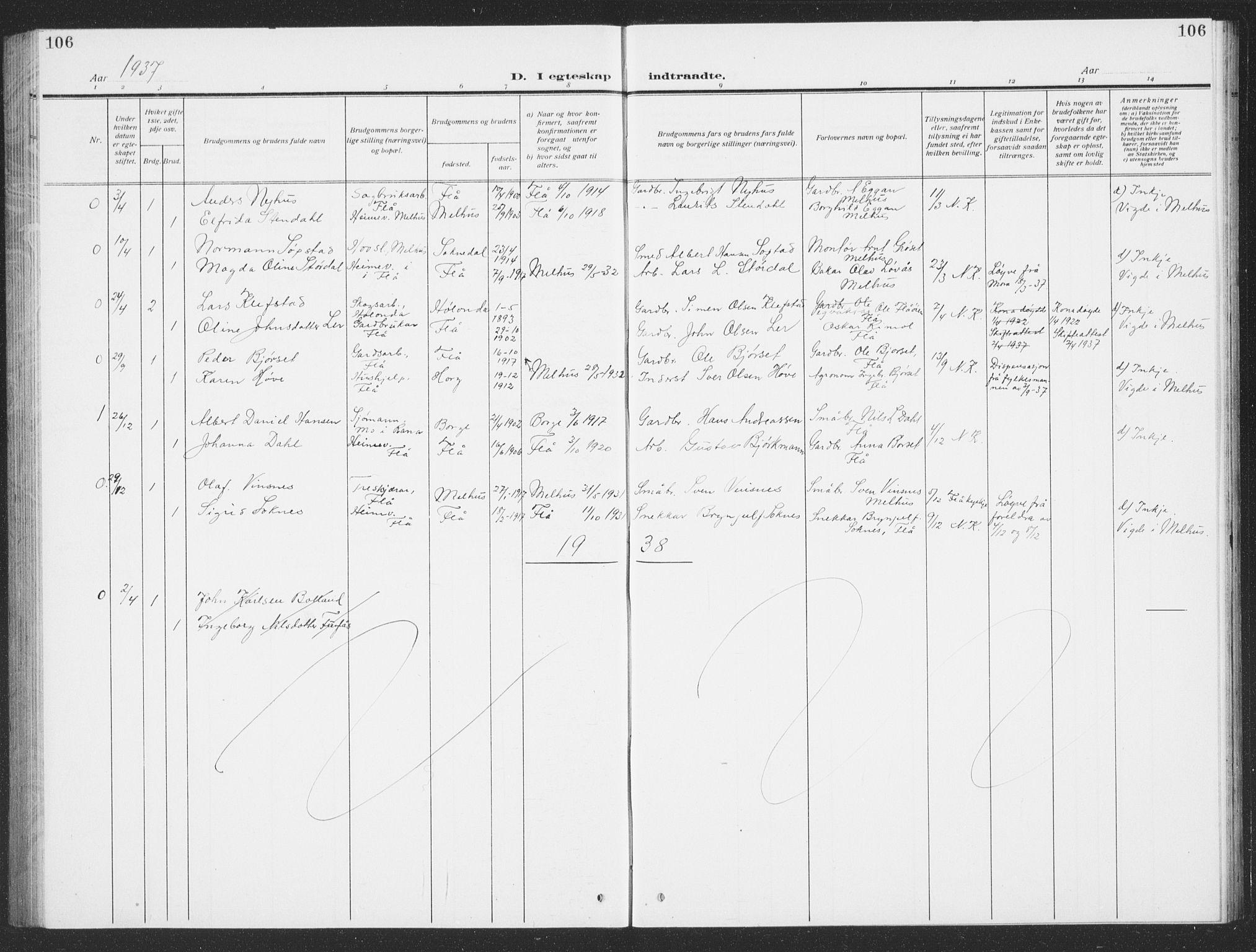 SAT, Ministerialprotokoller, klokkerbøker og fødselsregistre - Sør-Trøndelag, 693/L1124: Klokkerbok nr. 693C05, 1911-1941, s. 106