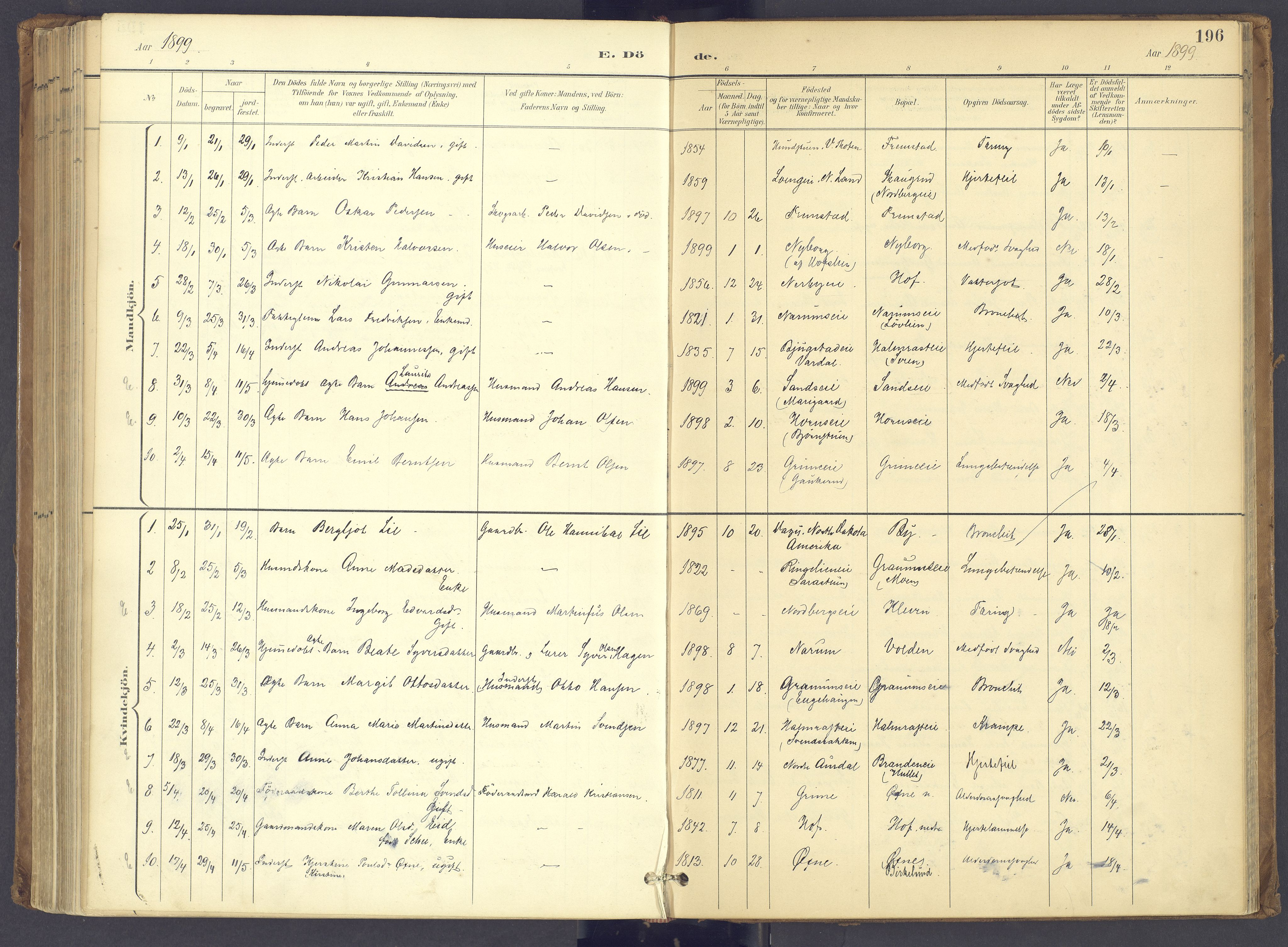 SAH, Søndre Land prestekontor, K/L0006: Ministerialbok nr. 6, 1895-1904, s. 196