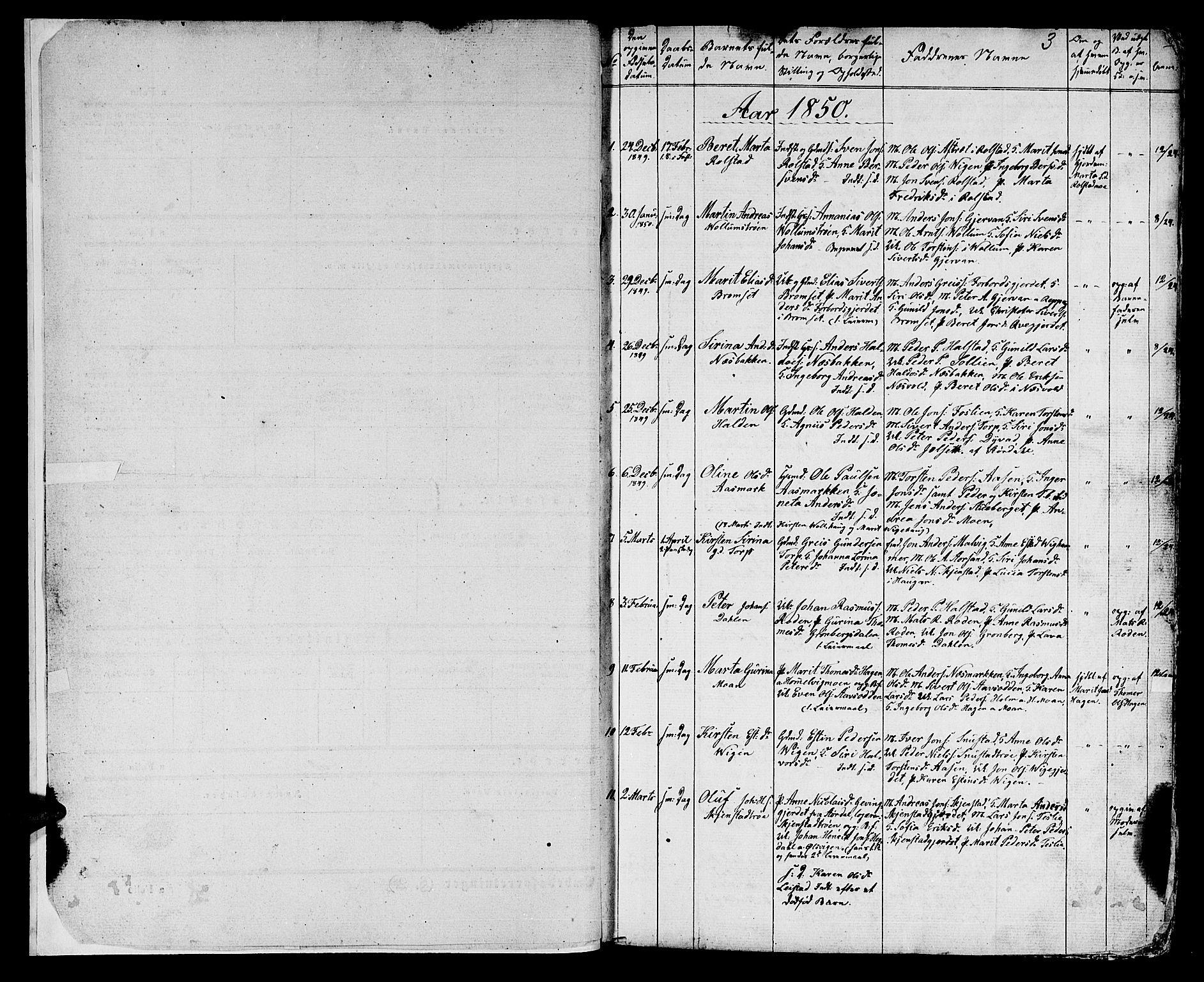 SAT, Ministerialprotokoller, klokkerbøker og fødselsregistre - Sør-Trøndelag, 616/L0422: Klokkerbok nr. 616C05, 1850-1888, s. 1