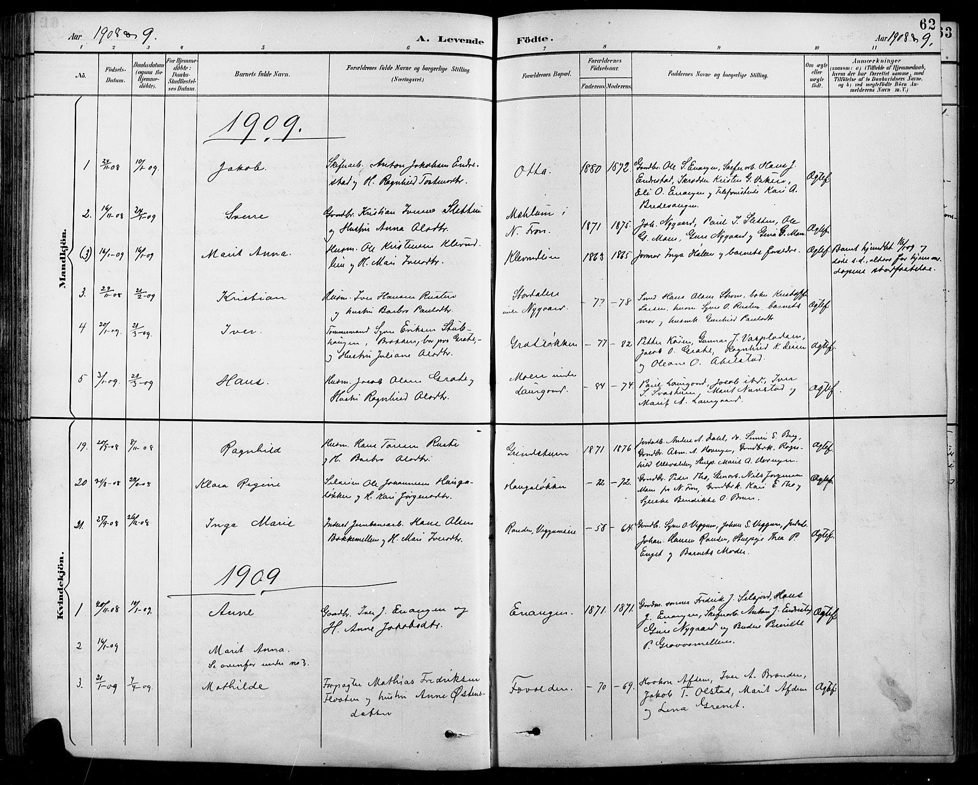 SAH, Sel prestekontor, Klokkerbok nr. 1, 1894-1923, s. 62