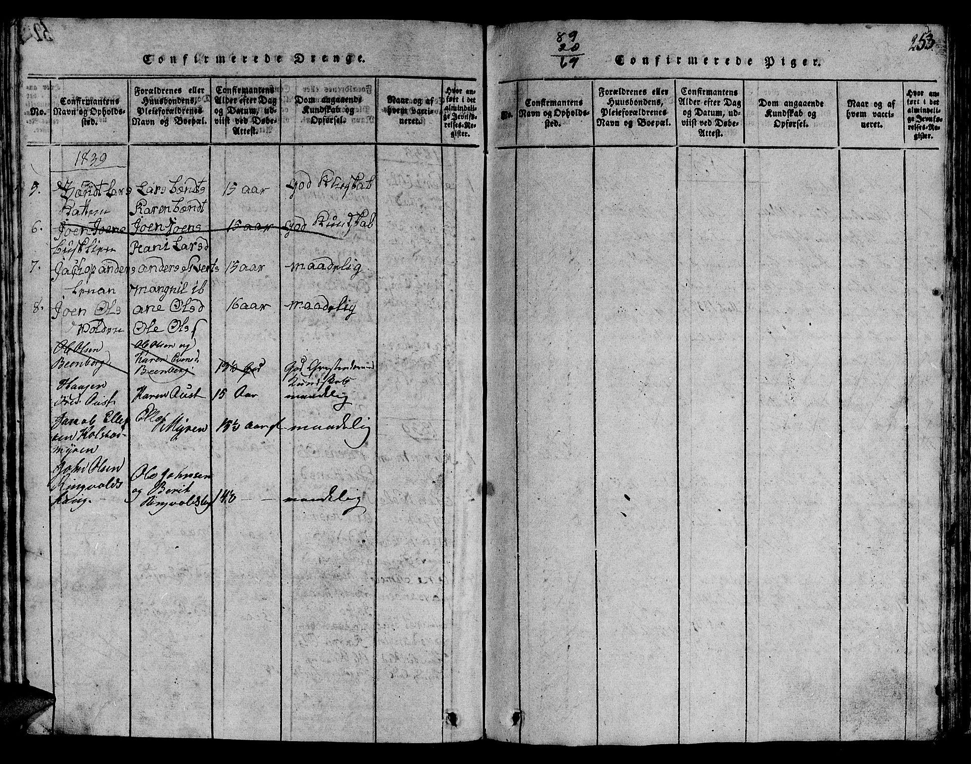 SAT, Ministerialprotokoller, klokkerbøker og fødselsregistre - Sør-Trøndelag, 613/L0393: Klokkerbok nr. 613C01, 1816-1886, s. 253