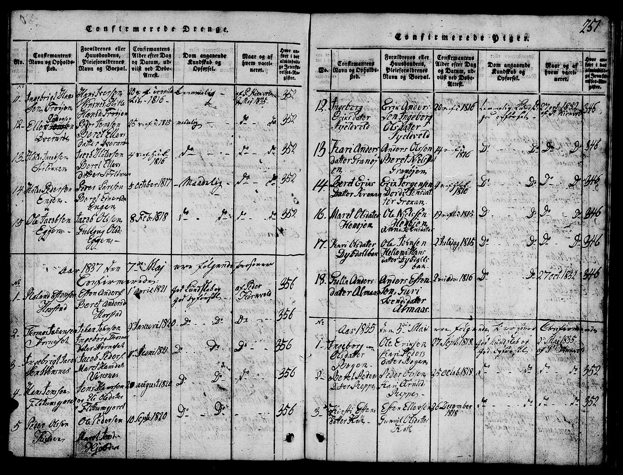 SAT, Ministerialprotokoller, klokkerbøker og fødselsregistre - Sør-Trøndelag, 688/L1026: Klokkerbok nr. 688C01, 1817-1860, s. 251