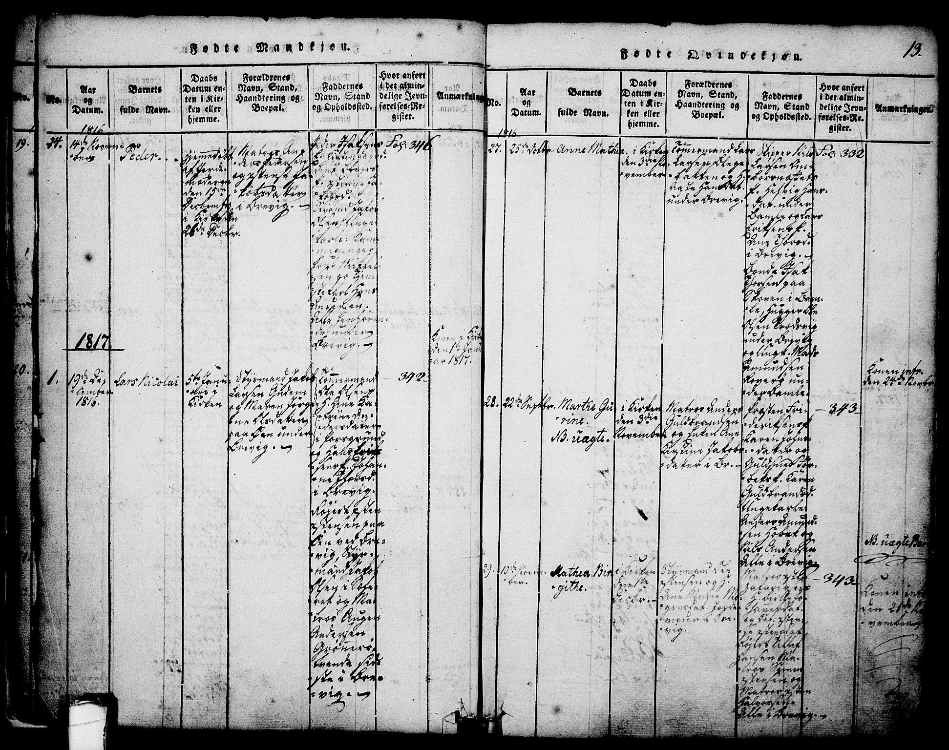 SAKO, Brevik kirkebøker, G/Ga/L0001: Klokkerbok nr. 1, 1814-1845, s. 13