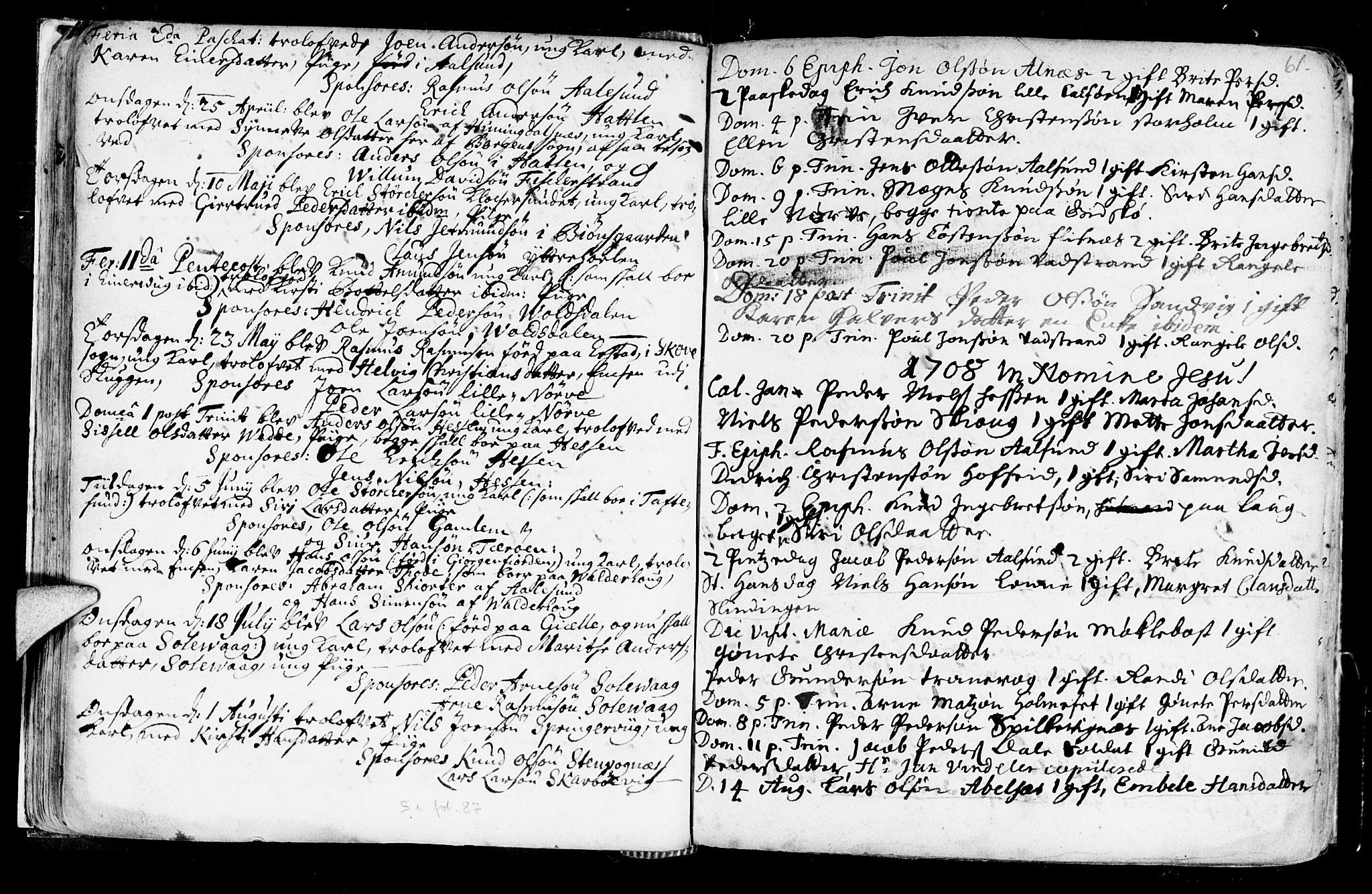 SAT, Ministerialprotokoller, klokkerbøker og fødselsregistre - Møre og Romsdal, 528/L0390: Ministerialbok nr. 528A01, 1698-1739, s. 60-61