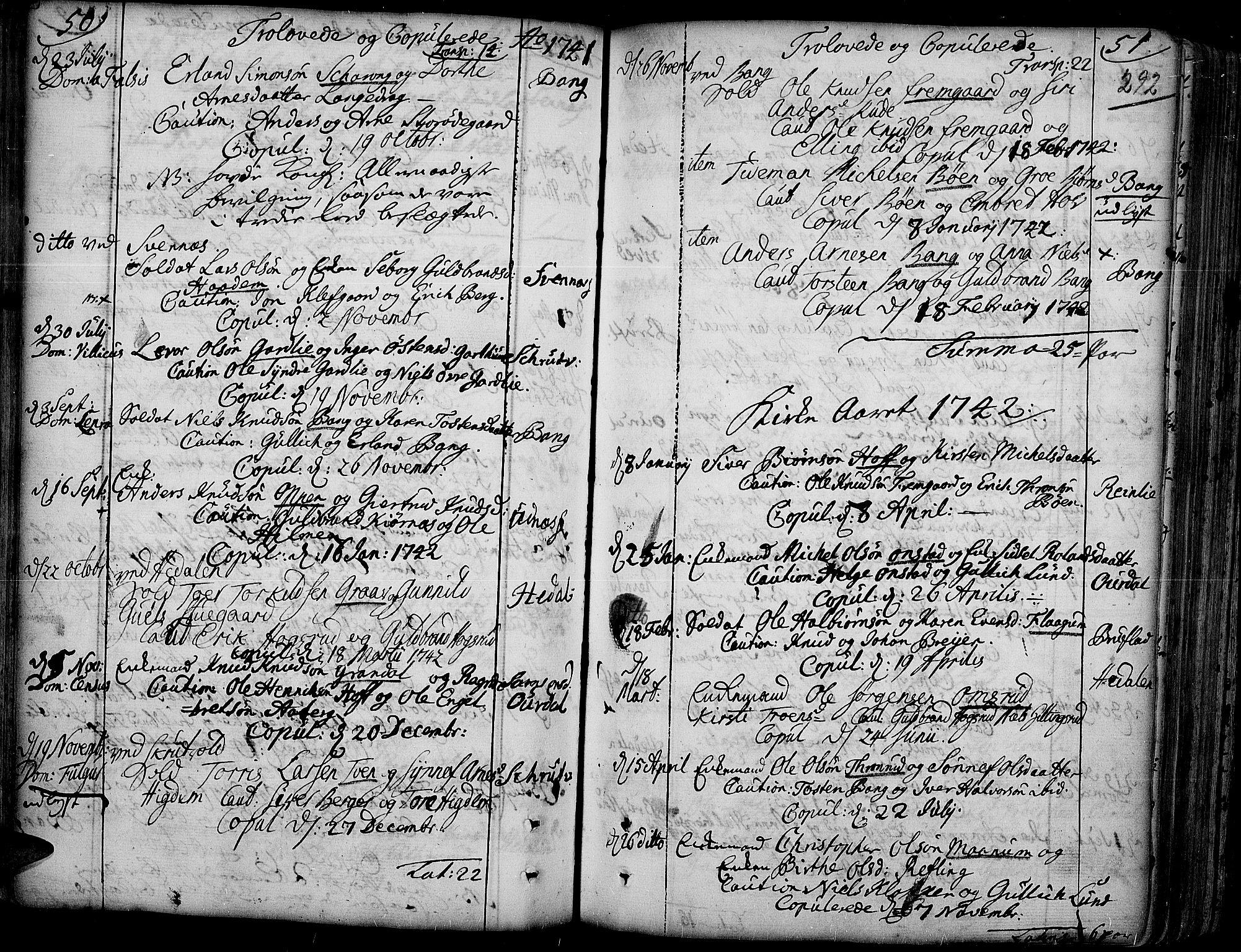 SAH, Aurdal prestekontor, Ministerialbok nr. 4, 1730-1762, s. 50-51