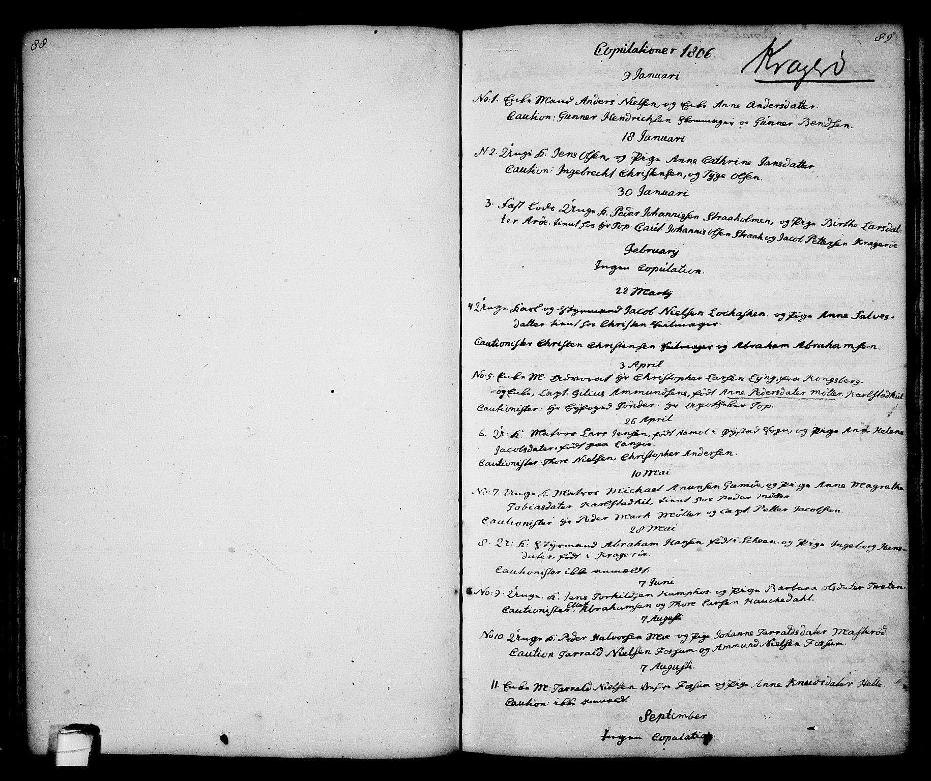 SAKO, Kragerø kirkebøker, G/Ga/L0001: Klokkerbok nr. 1 /1, 1806-1811, s. 88-89
