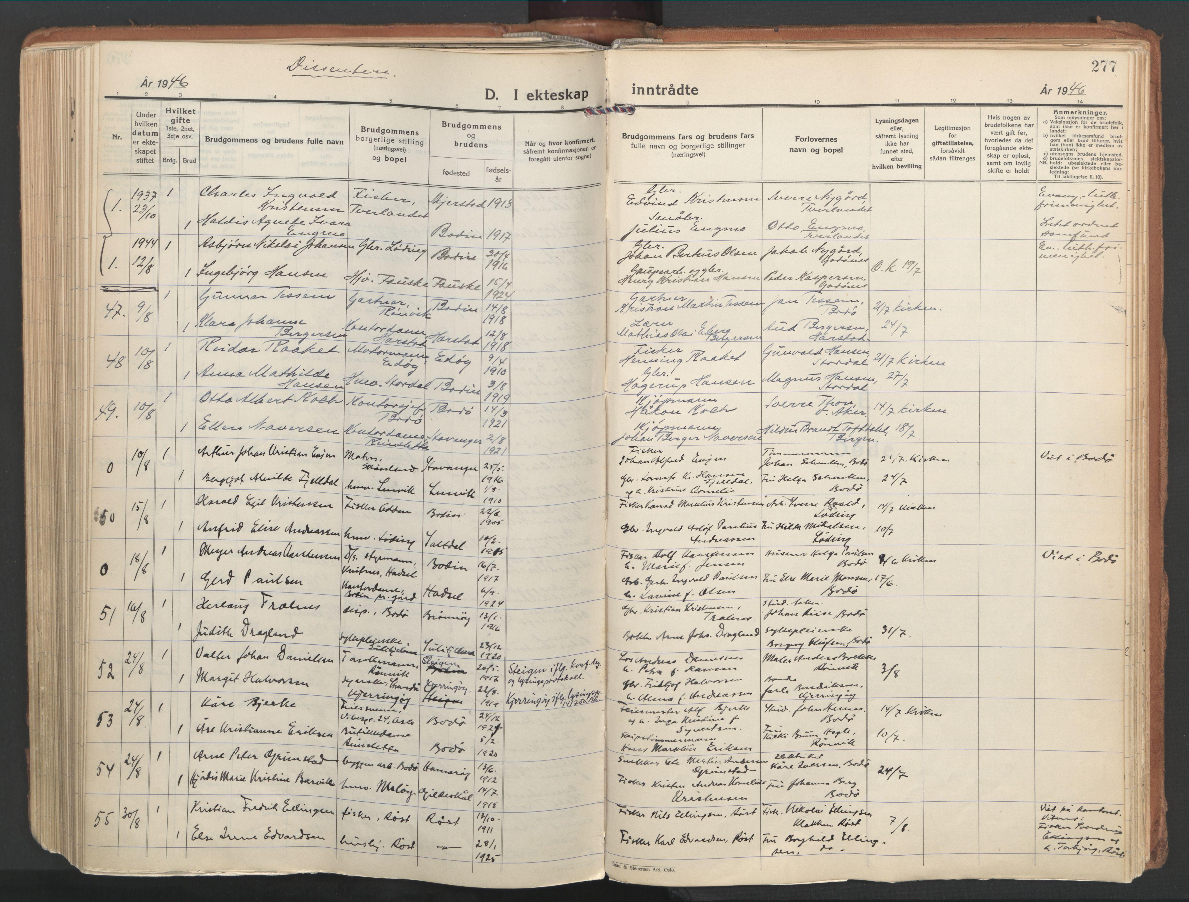 SAT, Ministerialprotokoller, klokkerbøker og fødselsregistre - Nordland, 802/L0061: Ministerialbok nr. 802A08, 1933-1946, s. 277
