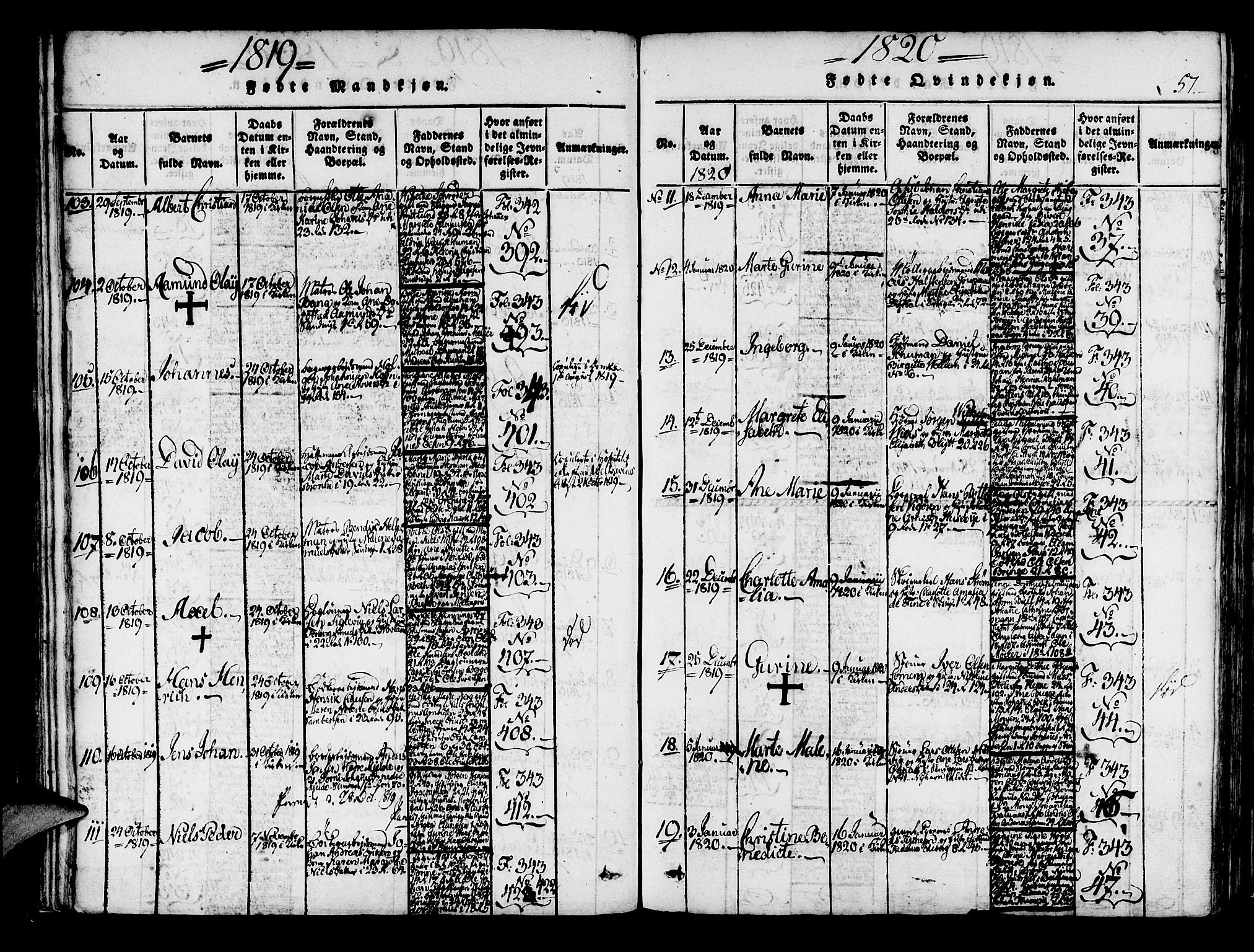 SAB, Korskirken Sokneprestembete, H/Haa/L0013: Ministerialbok nr. A 13, 1815-1822, s. 57