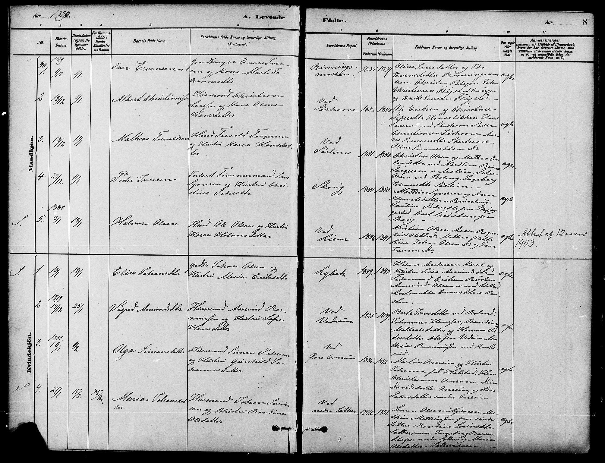 SAH, Fåberg prestekontor, Ministerialbok nr. 8, 1879-1898, s. 8