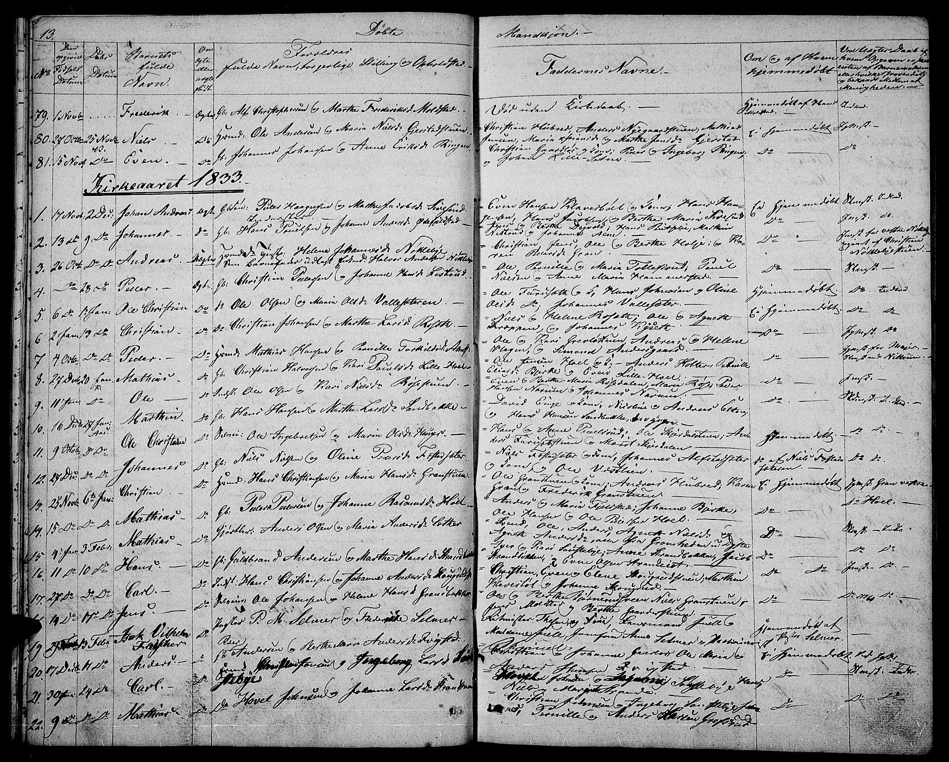 SAH, Vestre Toten prestekontor, Klokkerbok nr. 1, 1830-1836, s. 13