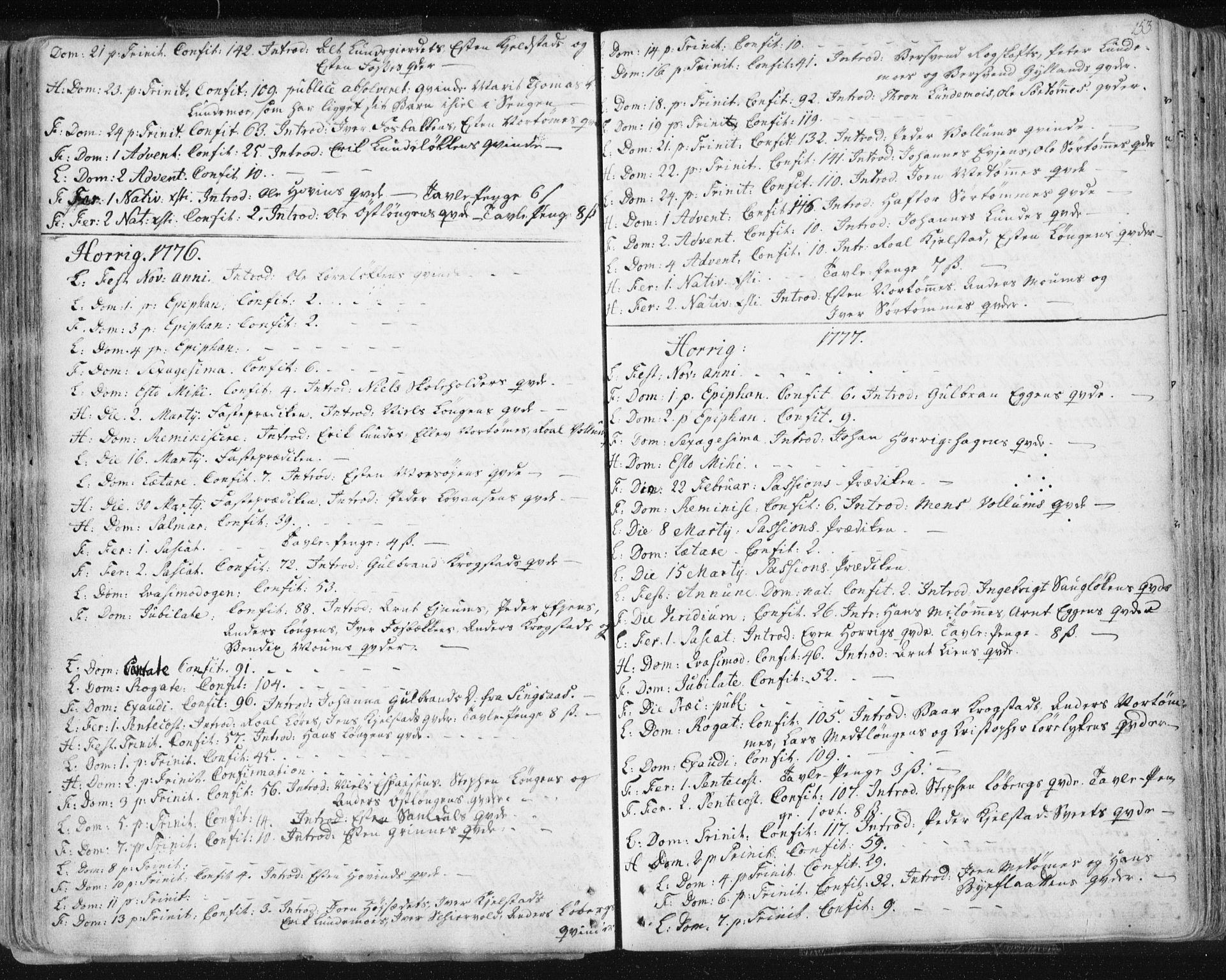 SAT, Ministerialprotokoller, klokkerbøker og fødselsregistre - Sør-Trøndelag, 687/L0991: Ministerialbok nr. 687A02, 1747-1790, s. 153