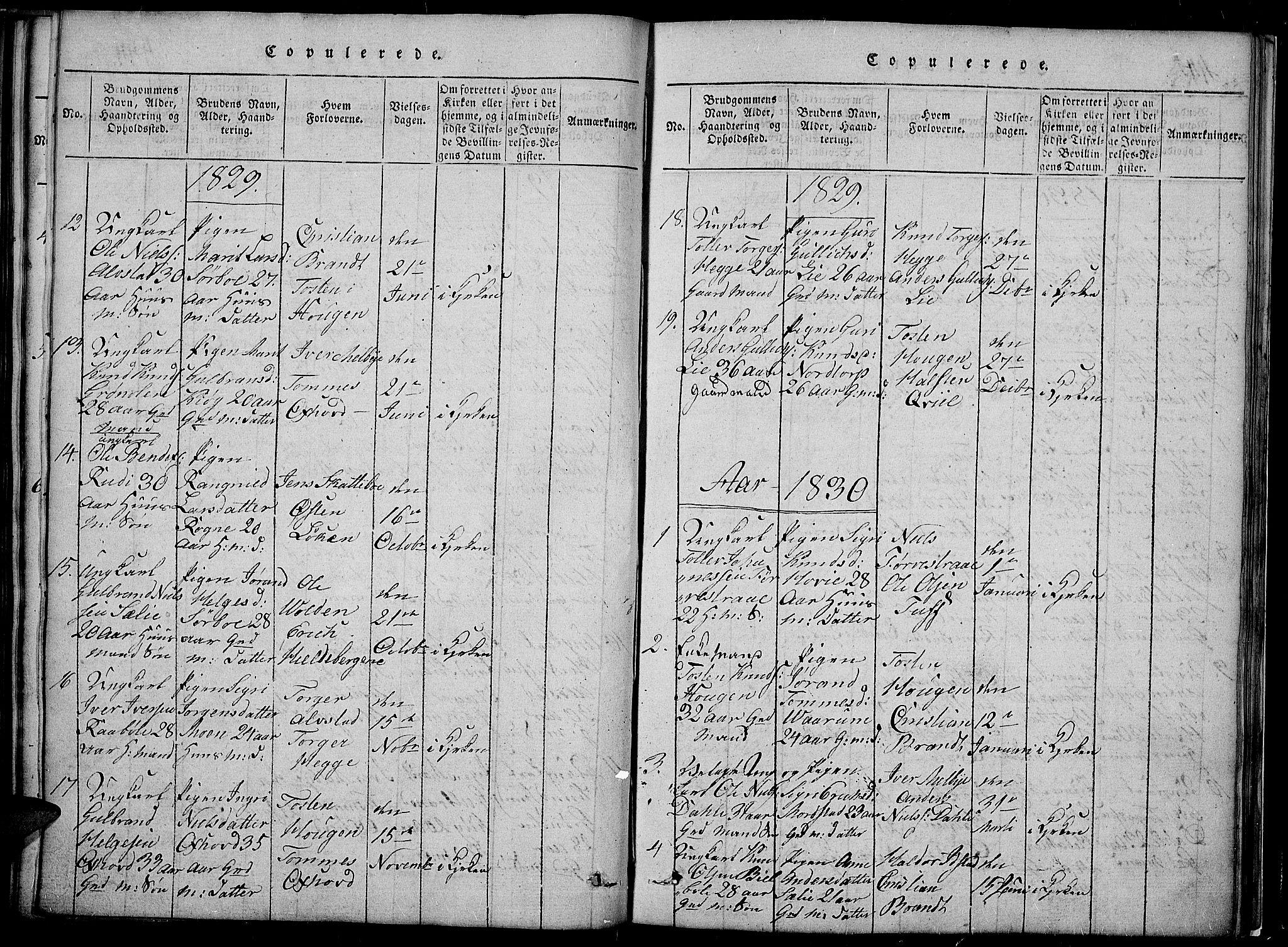 SAH, Slidre prestekontor, Klokkerbok nr. 2, 1814-1839, s. 443b-444b
