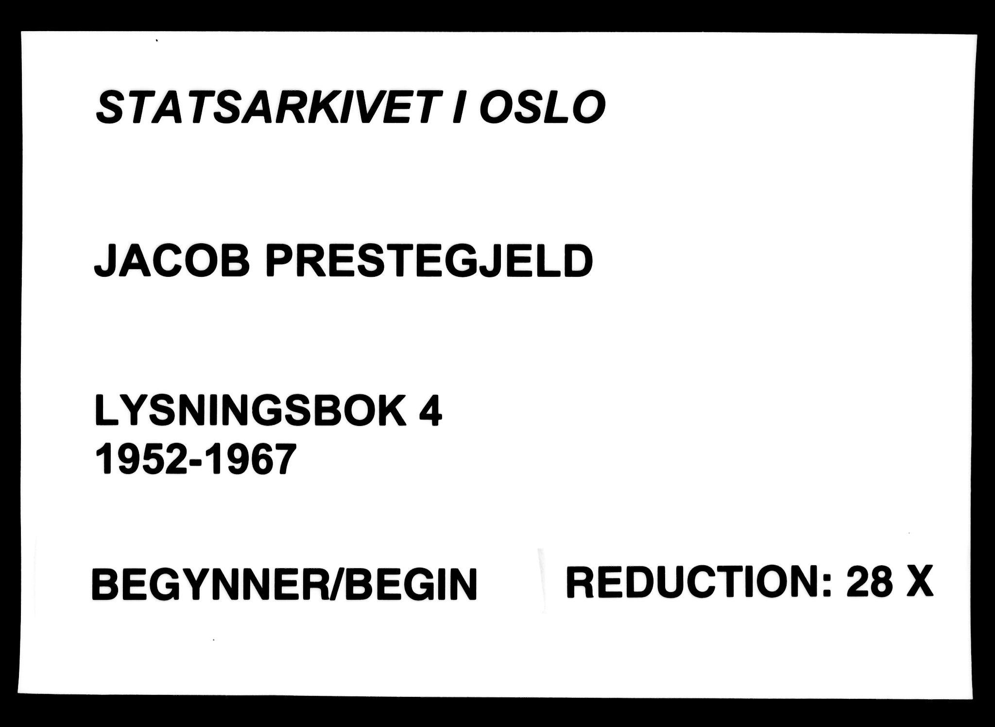 SAO, Jakob prestekontor Kirkebøker, H/Ha/L0004: Lysningsprotokoll nr. 4, 1952-1967