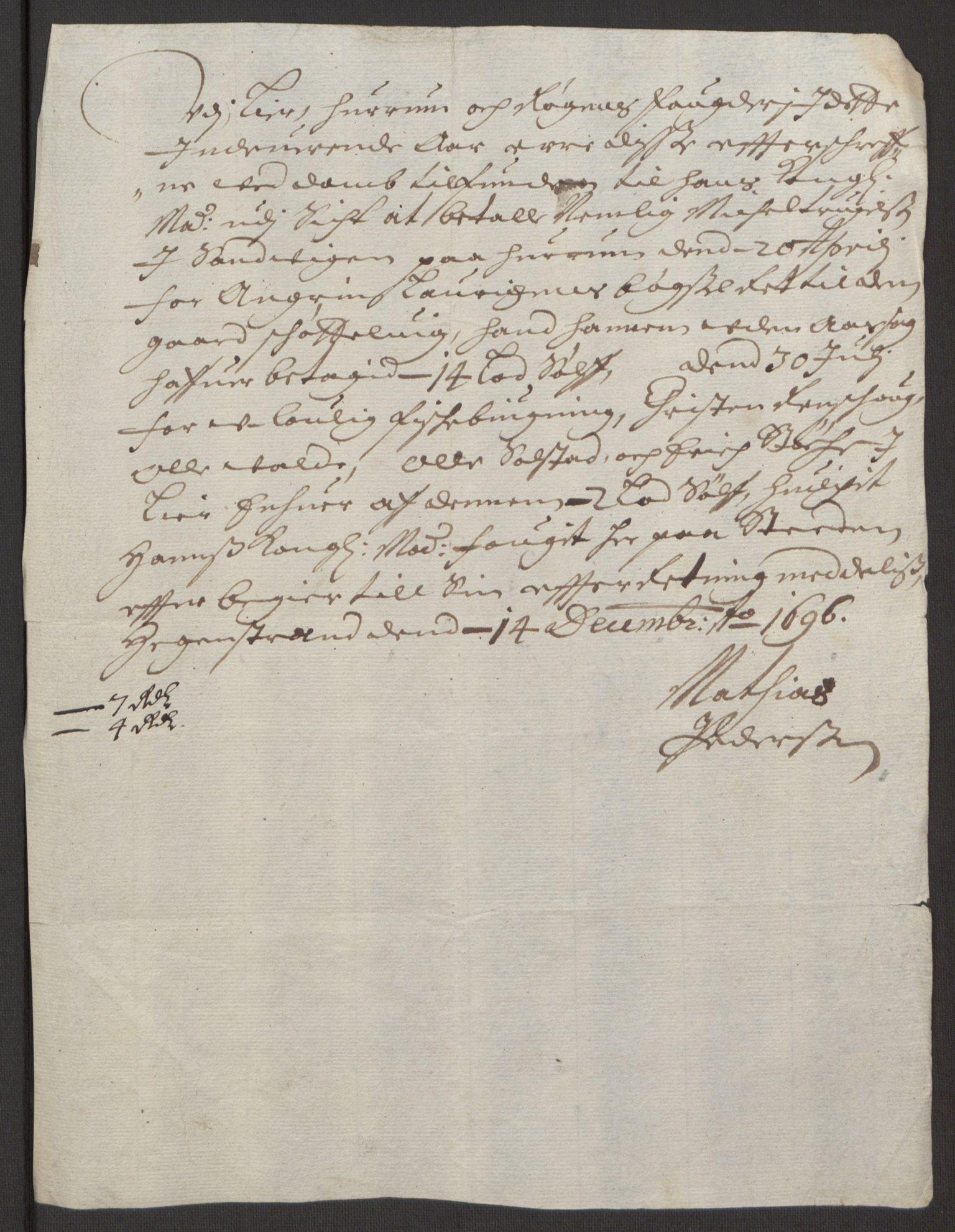 RA, Rentekammeret inntil 1814, Reviderte regnskaper, Fogderegnskap, R30/L1694: Fogderegnskap Hurum, Røyken, Eiker og Lier, 1694-1696, s. 321