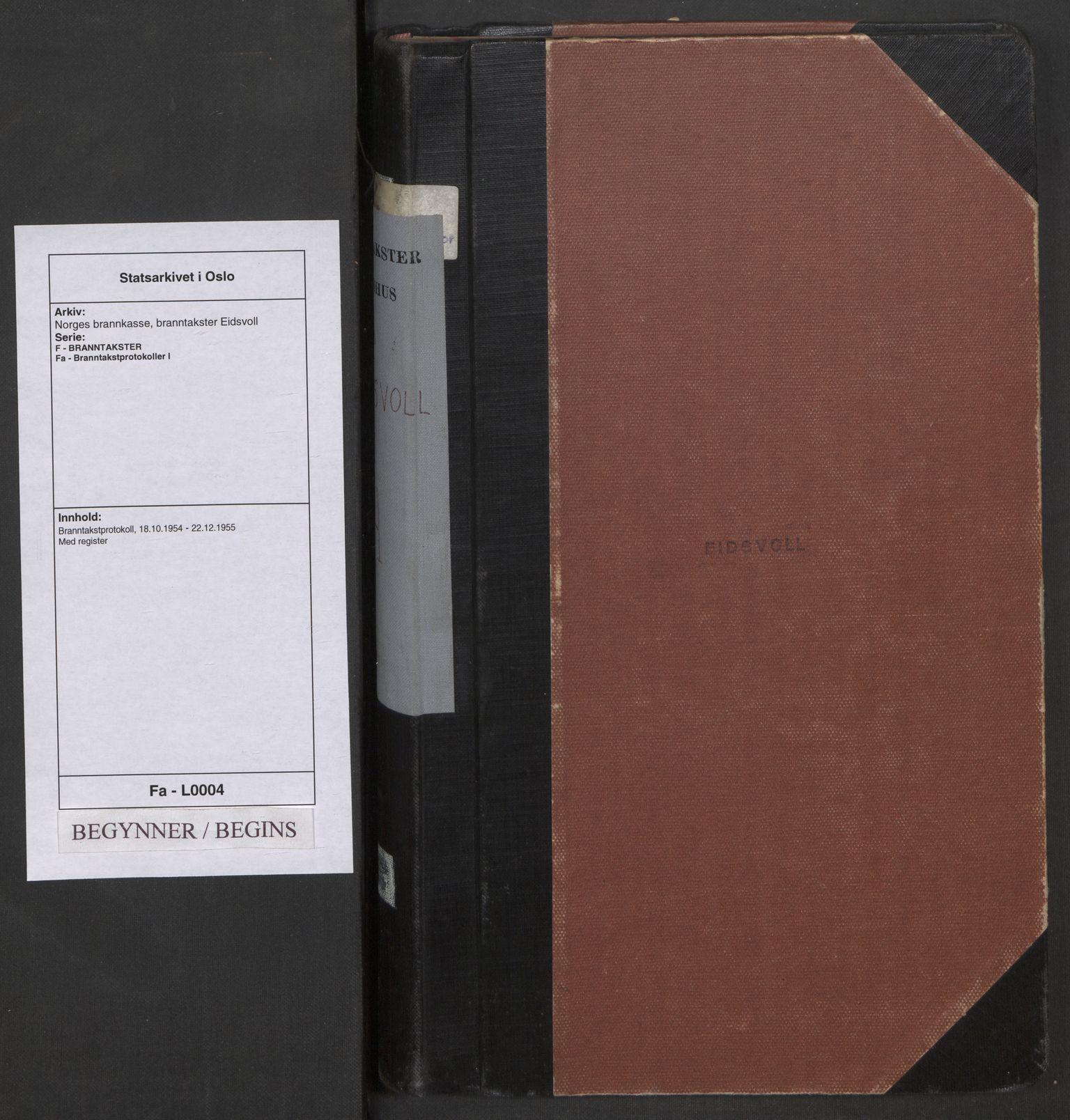 SAO, Norges brannkasse, branntakster Eidsvoll, F/Fa/L0004: Branntakstprotokoll, 1954-1955