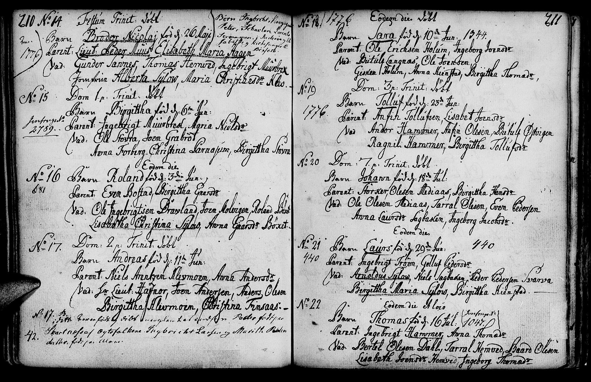SAT, Ministerialprotokoller, klokkerbøker og fødselsregistre - Nord-Trøndelag, 749/L0467: Ministerialbok nr. 749A01, 1733-1787, s. 210-211