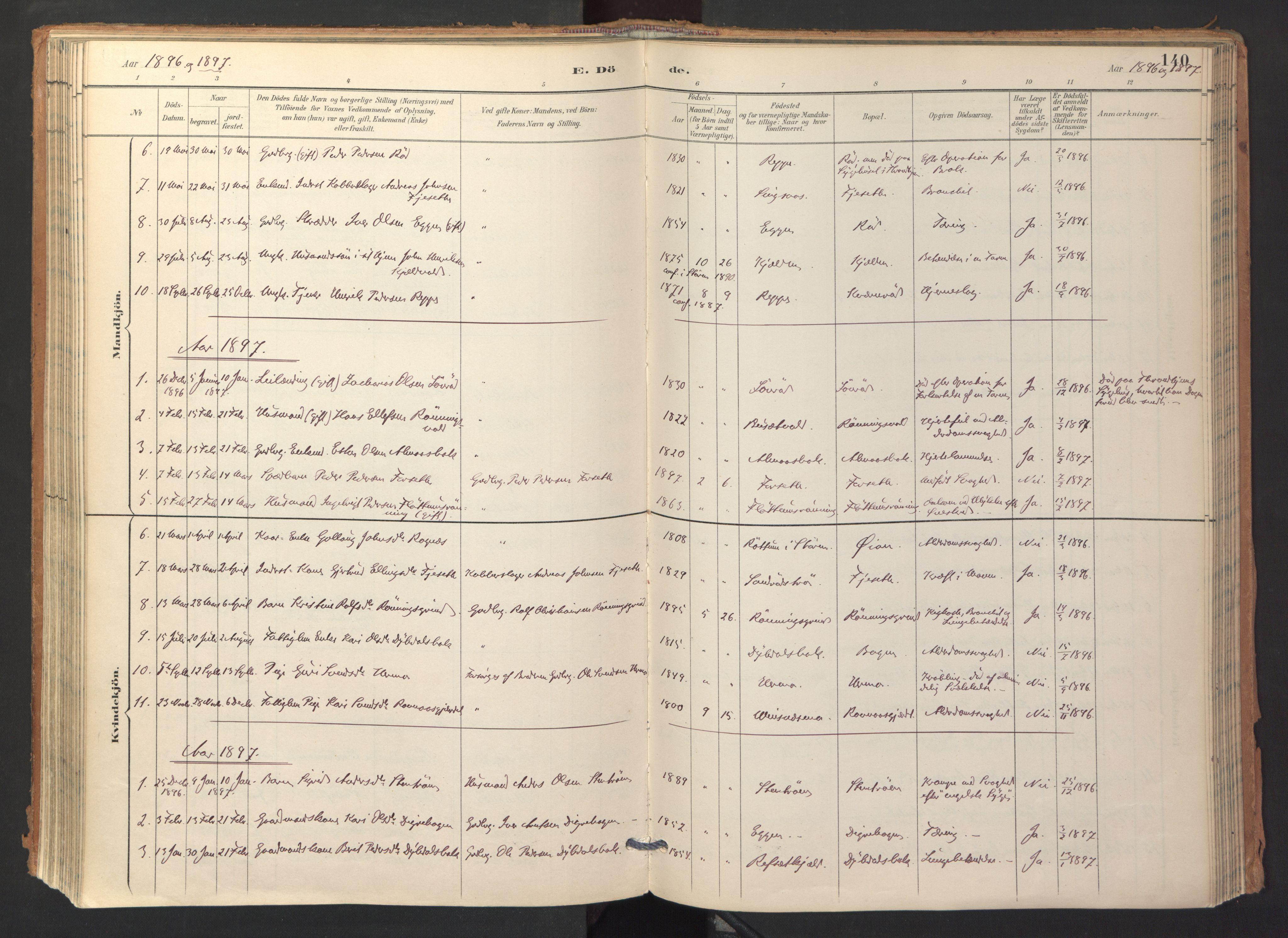 SAT, Ministerialprotokoller, klokkerbøker og fødselsregistre - Sør-Trøndelag, 688/L1025: Ministerialbok nr. 688A02, 1891-1909, s. 140