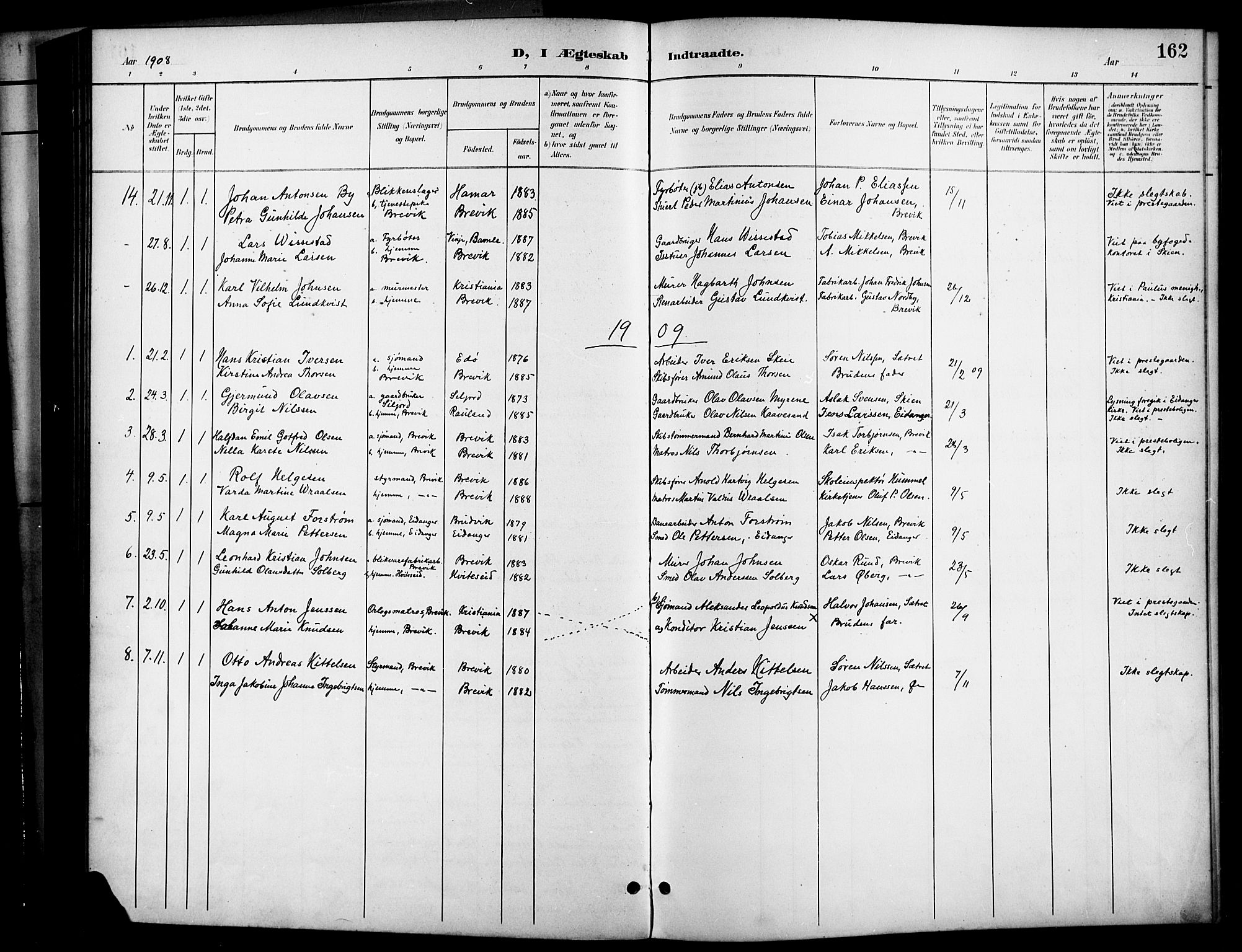 SAKO, Brevik kirkebøker, G/Ga/L0005: Klokkerbok nr. 5, 1901-1924, s. 162