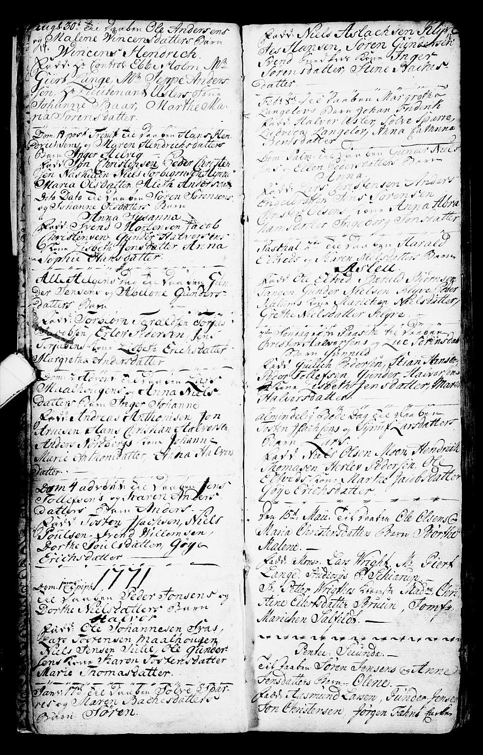 SAKO, Porsgrunn kirkebøker , G/Ga/L0001: Klokkerbok nr. I 1, 1766-1790, s. 14-15