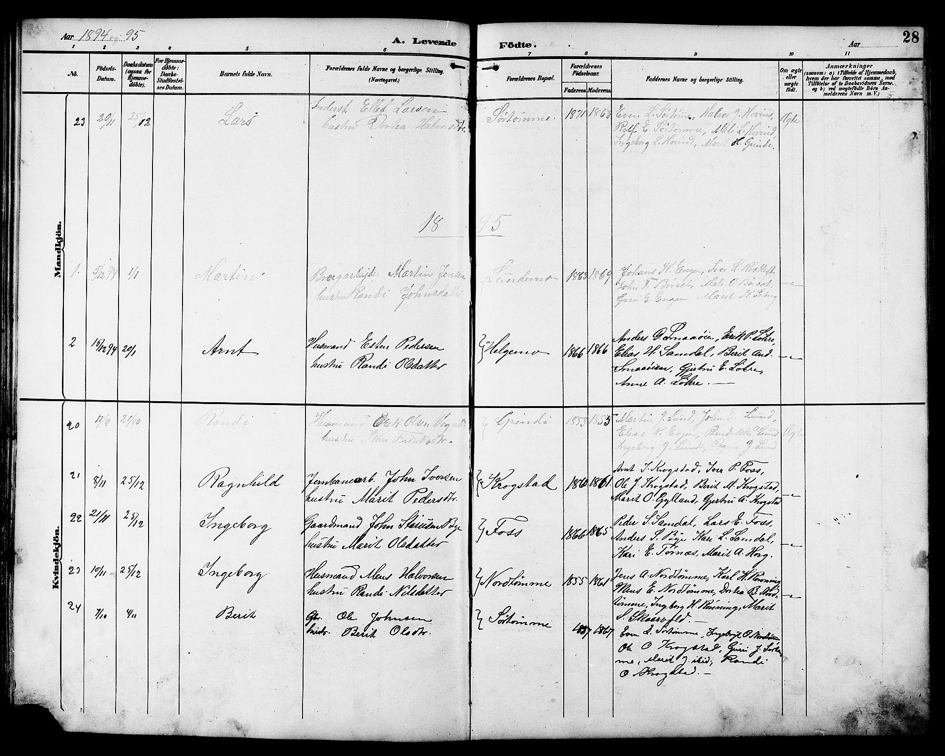 SAT, Ministerialprotokoller, klokkerbøker og fødselsregistre - Sør-Trøndelag, 692/L1111: Klokkerbok nr. 692C06, 1890-1904, s. 28