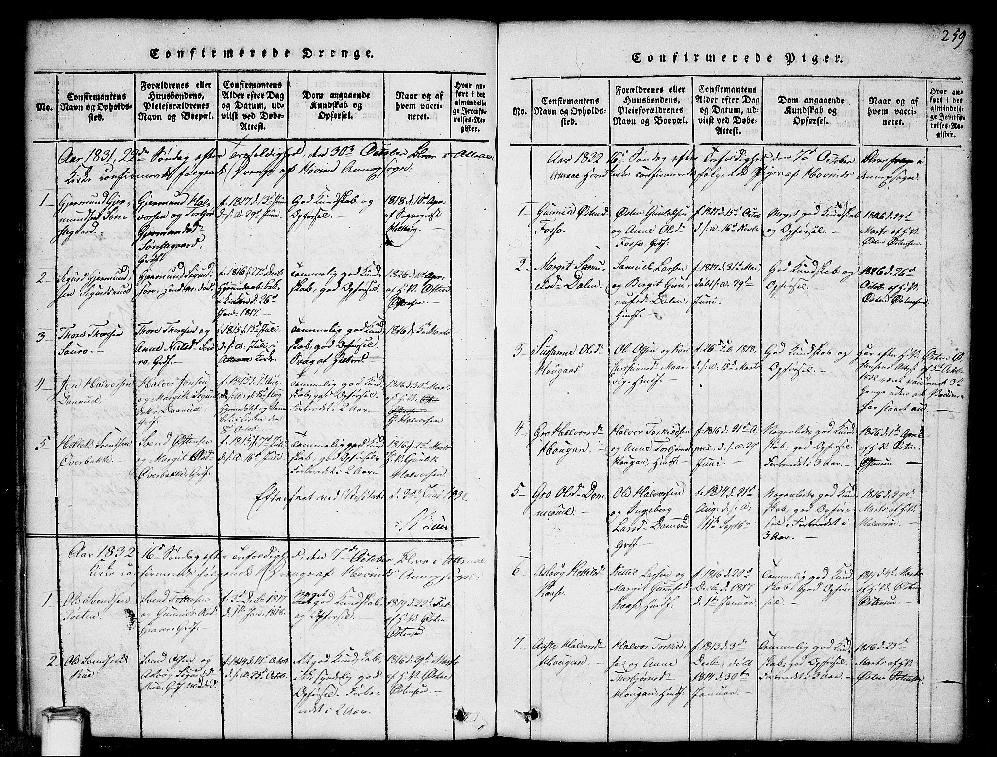 SAKO, Gransherad kirkebøker, G/Gb/L0001: Klokkerbok nr. II 1, 1815-1860, s. 259