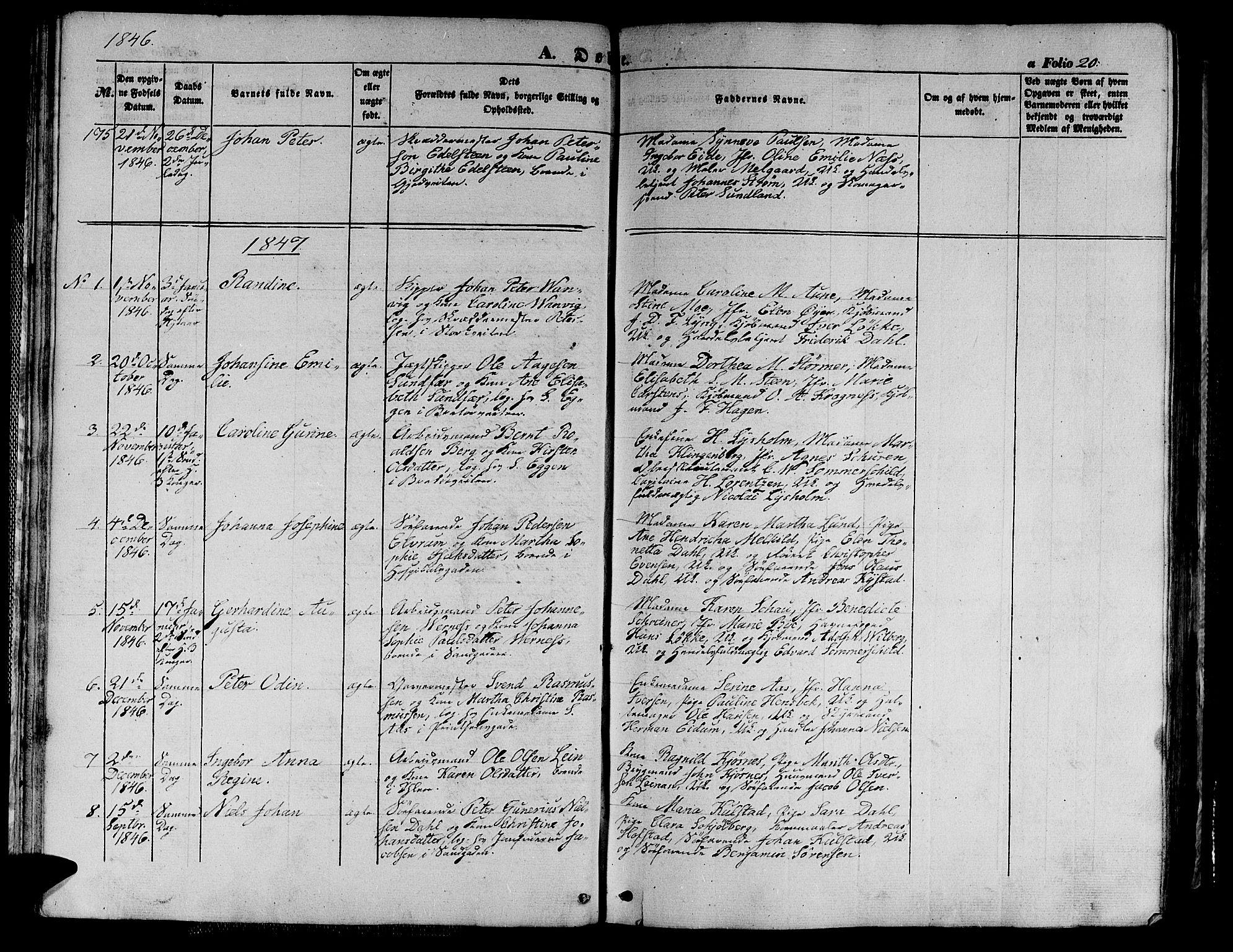 SAT, Ministerialprotokoller, klokkerbøker og fødselsregistre - Sør-Trøndelag, 602/L0137: Klokkerbok nr. 602C05, 1846-1856, s. 20