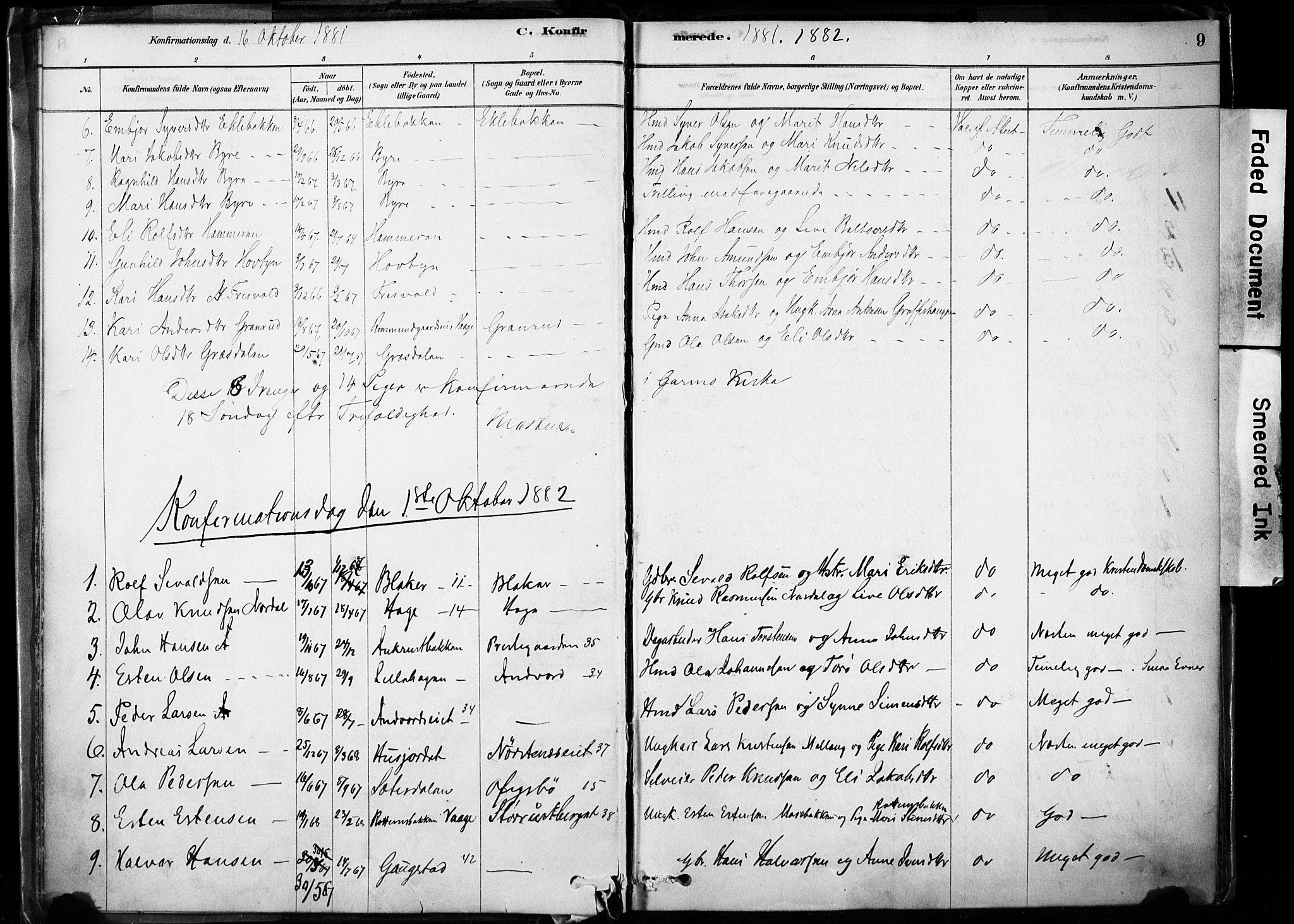 SAH, Lom prestekontor, K/L0009: Ministerialbok nr. 9, 1878-1907, s. 9