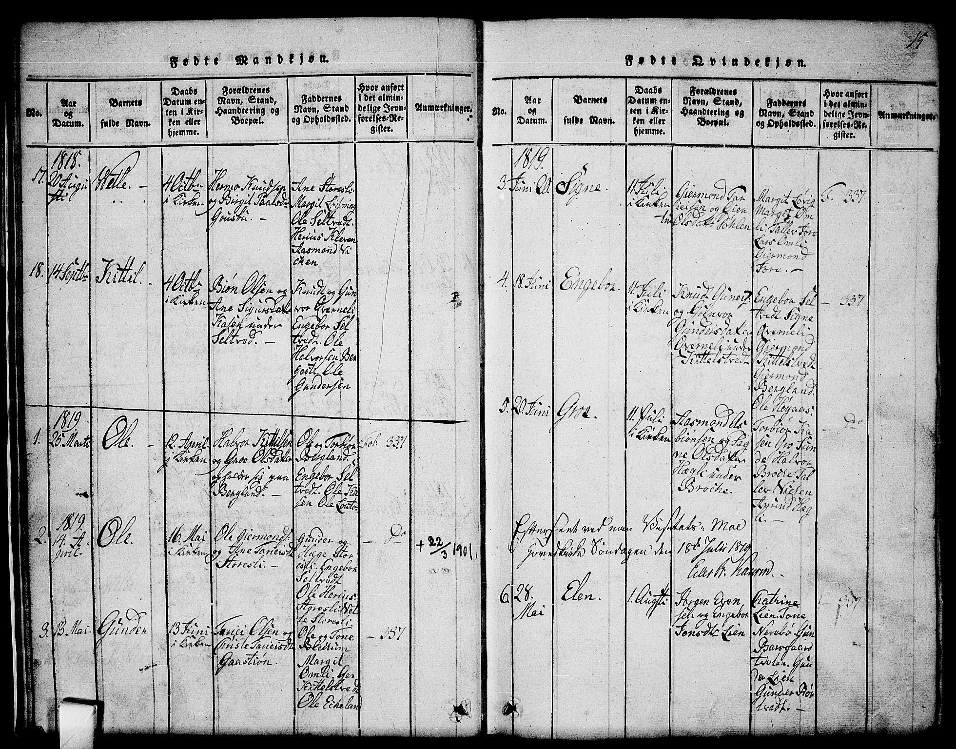 SAKO, Mo kirkebøker, G/Gb/L0001: Klokkerbok nr. II 1, 1814-1843, s. 15