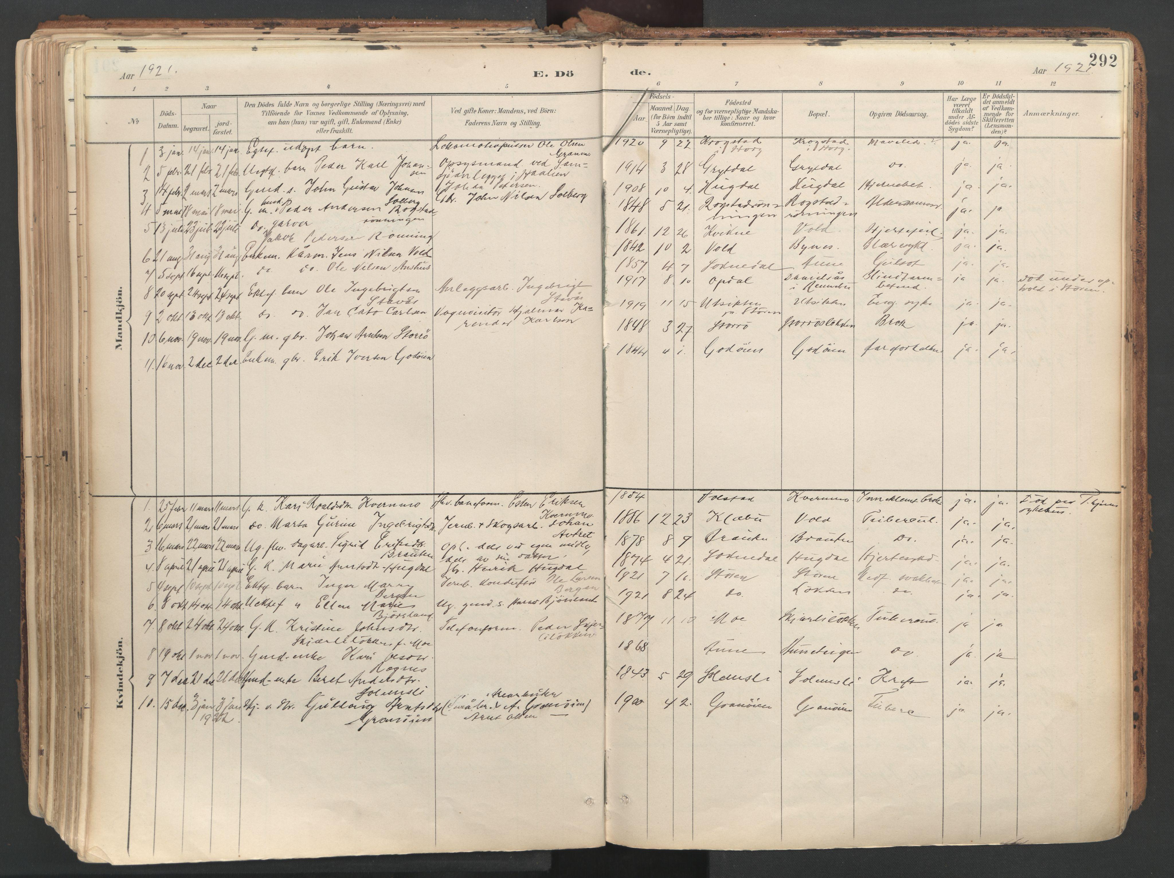 SAT, Ministerialprotokoller, klokkerbøker og fødselsregistre - Sør-Trøndelag, 687/L1004: Ministerialbok nr. 687A10, 1891-1923, s. 292