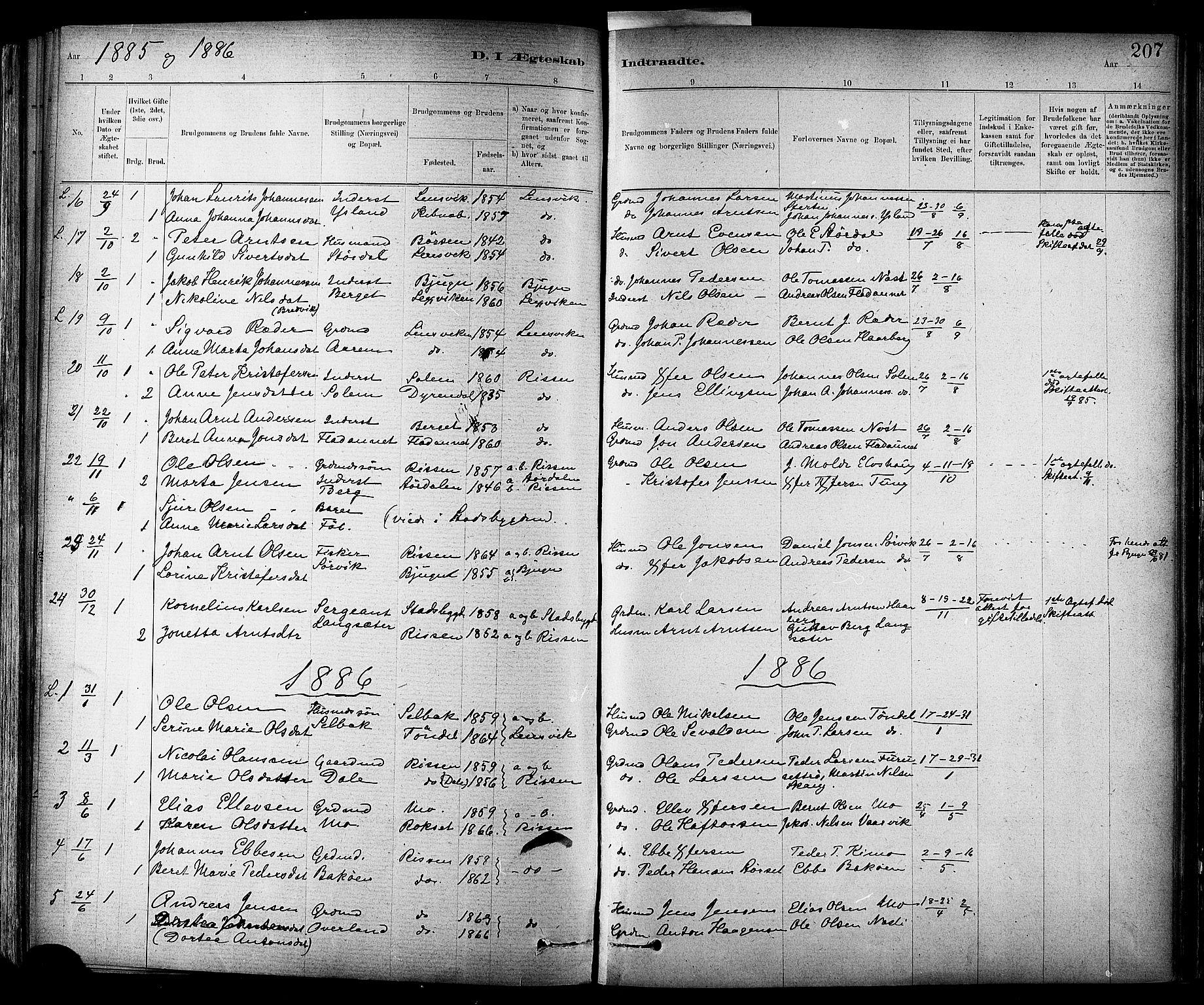 SAT, Ministerialprotokoller, klokkerbøker og fødselsregistre - Sør-Trøndelag, 647/L0634: Ministerialbok nr. 647A01, 1885-1896, s. 207