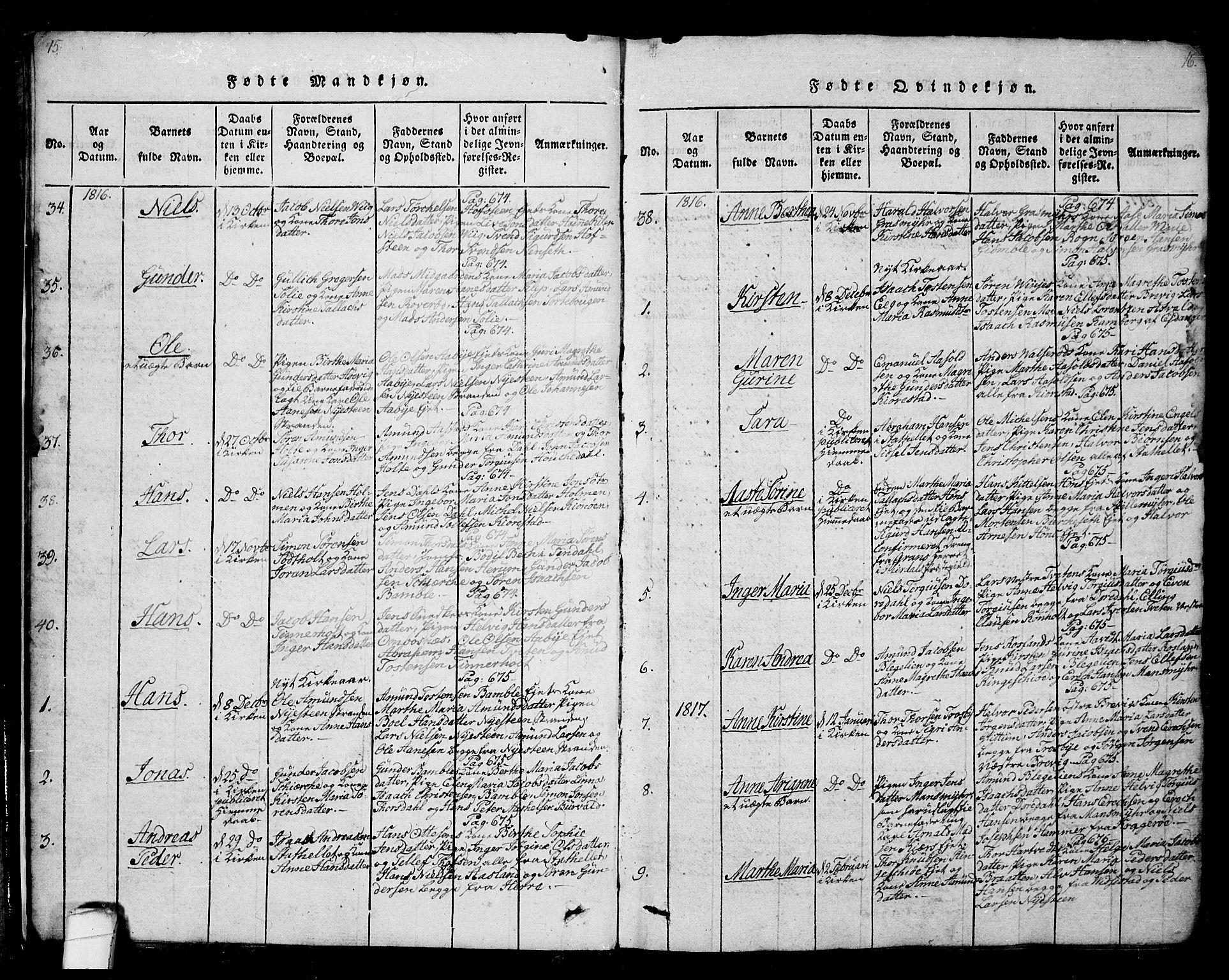 SAKO, Bamble kirkebøker, G/Ga/L0005: Klokkerbok nr. I 5, 1814-1855, s. 15-16