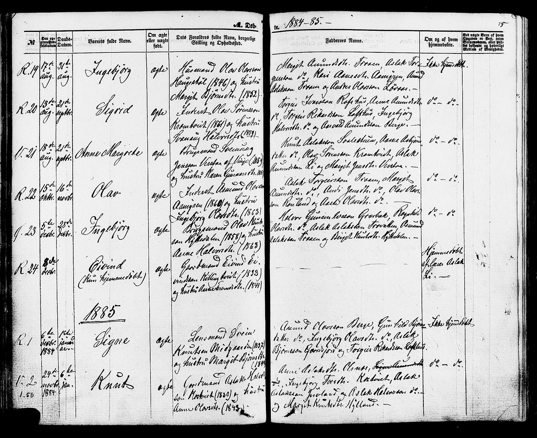 SAKO, Rauland kirkebøker, F/Fa/L0003: Ministerialbok nr. 3, 1859-1886, s. 75