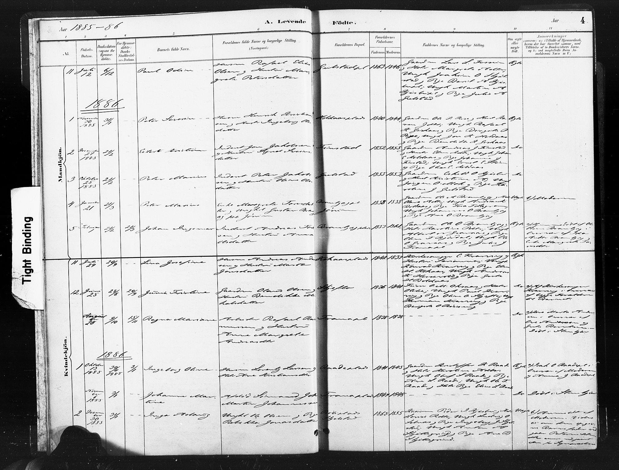 SAT, Ministerialprotokoller, klokkerbøker og fødselsregistre - Nord-Trøndelag, 736/L0361: Ministerialbok nr. 736A01, 1884-1906, s. 4