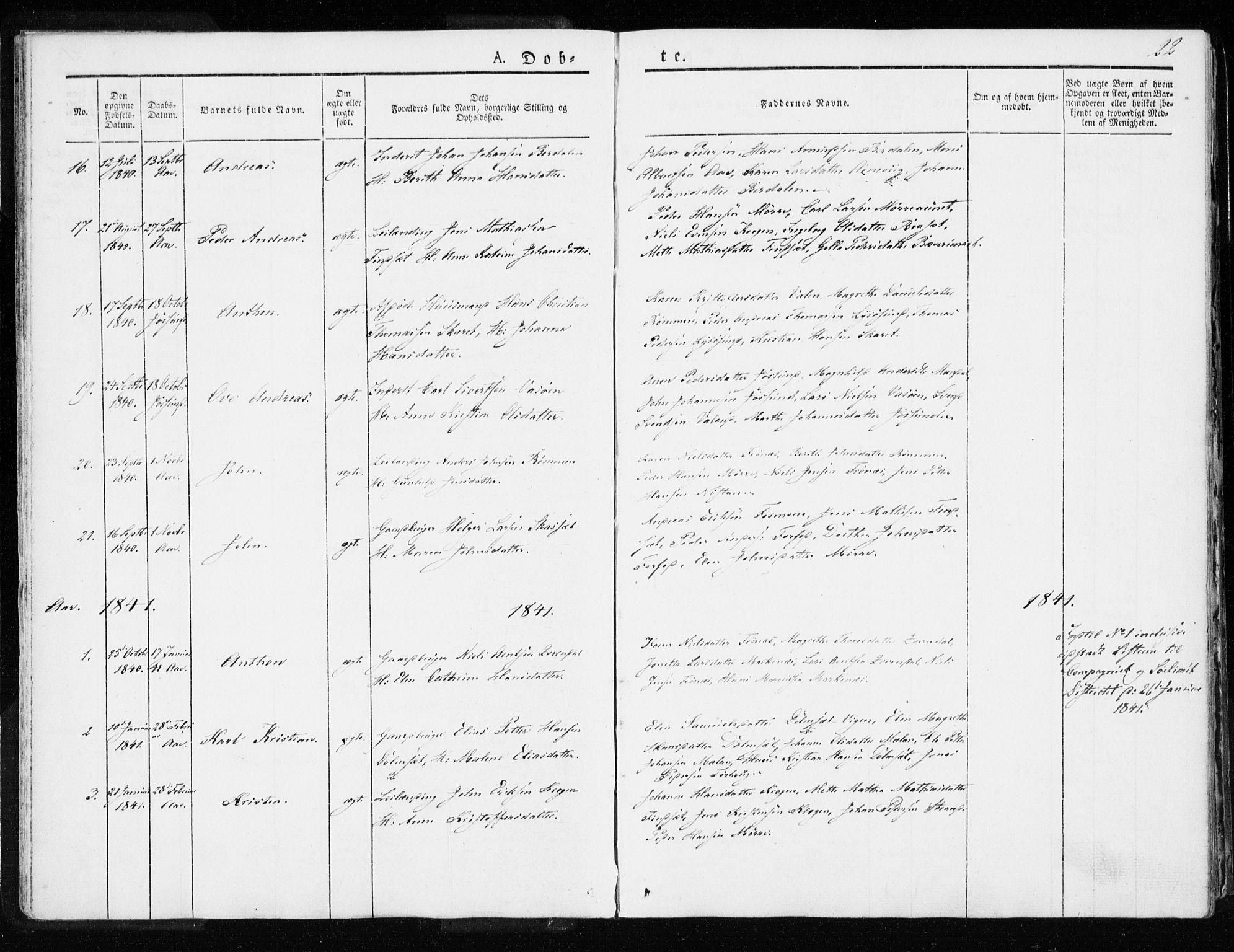 SAT, Ministerialprotokoller, klokkerbøker og fødselsregistre - Sør-Trøndelag, 655/L0676: Ministerialbok nr. 655A05, 1830-1847, s. 22