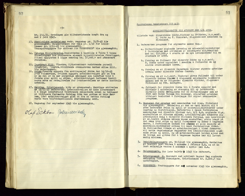 SAST, PA 1514 - Sporveienes Bensindepot, Norsk Oljeraffineri A/S, A/L0001: Styreprotokoll. Forhandlingsprotokoll Arbeidsutvaget, 1946-1951, s. 54