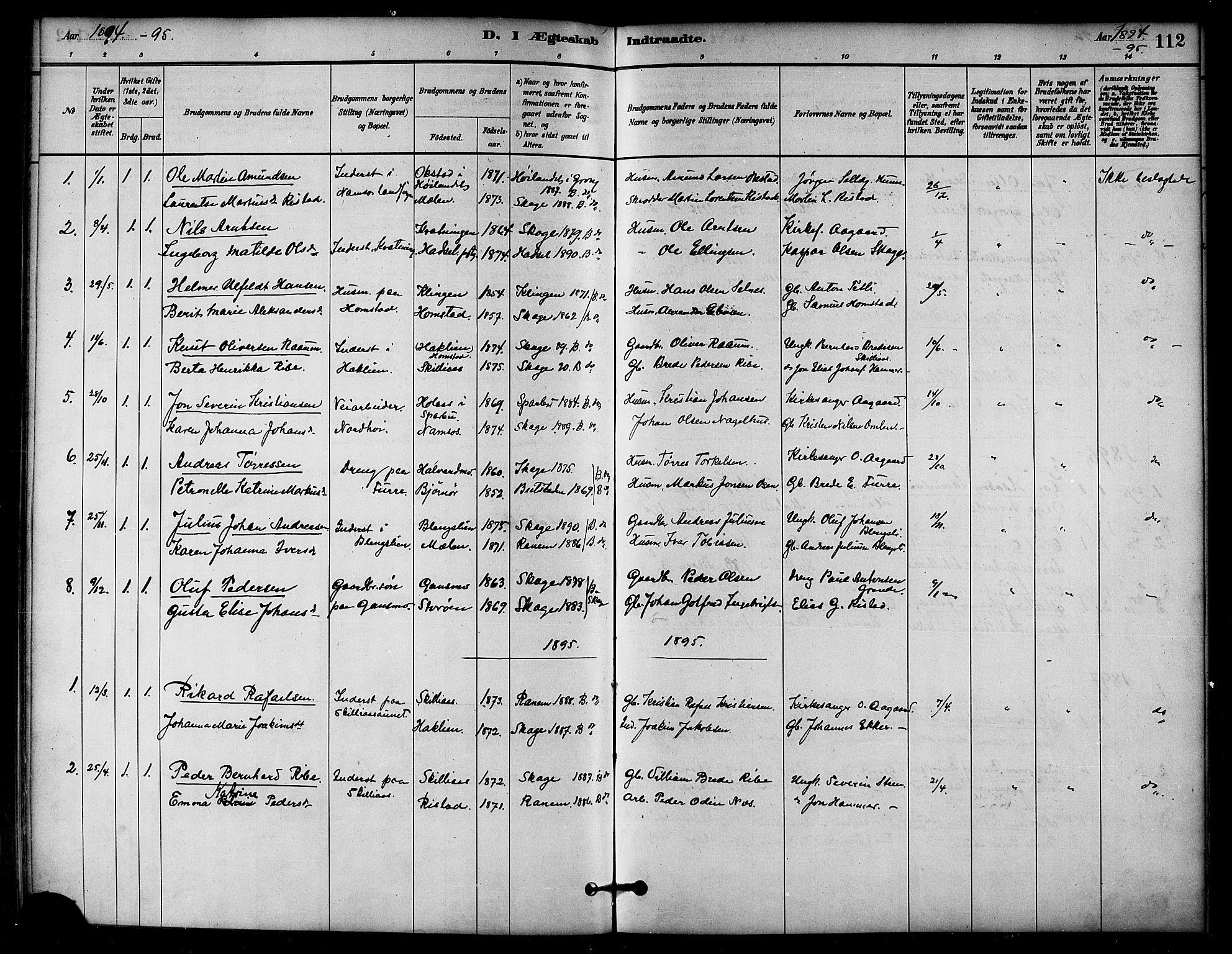 SAT, Ministerialprotokoller, klokkerbøker og fødselsregistre - Nord-Trøndelag, 766/L0563: Ministerialbok nr. 767A01, 1881-1899, s. 112