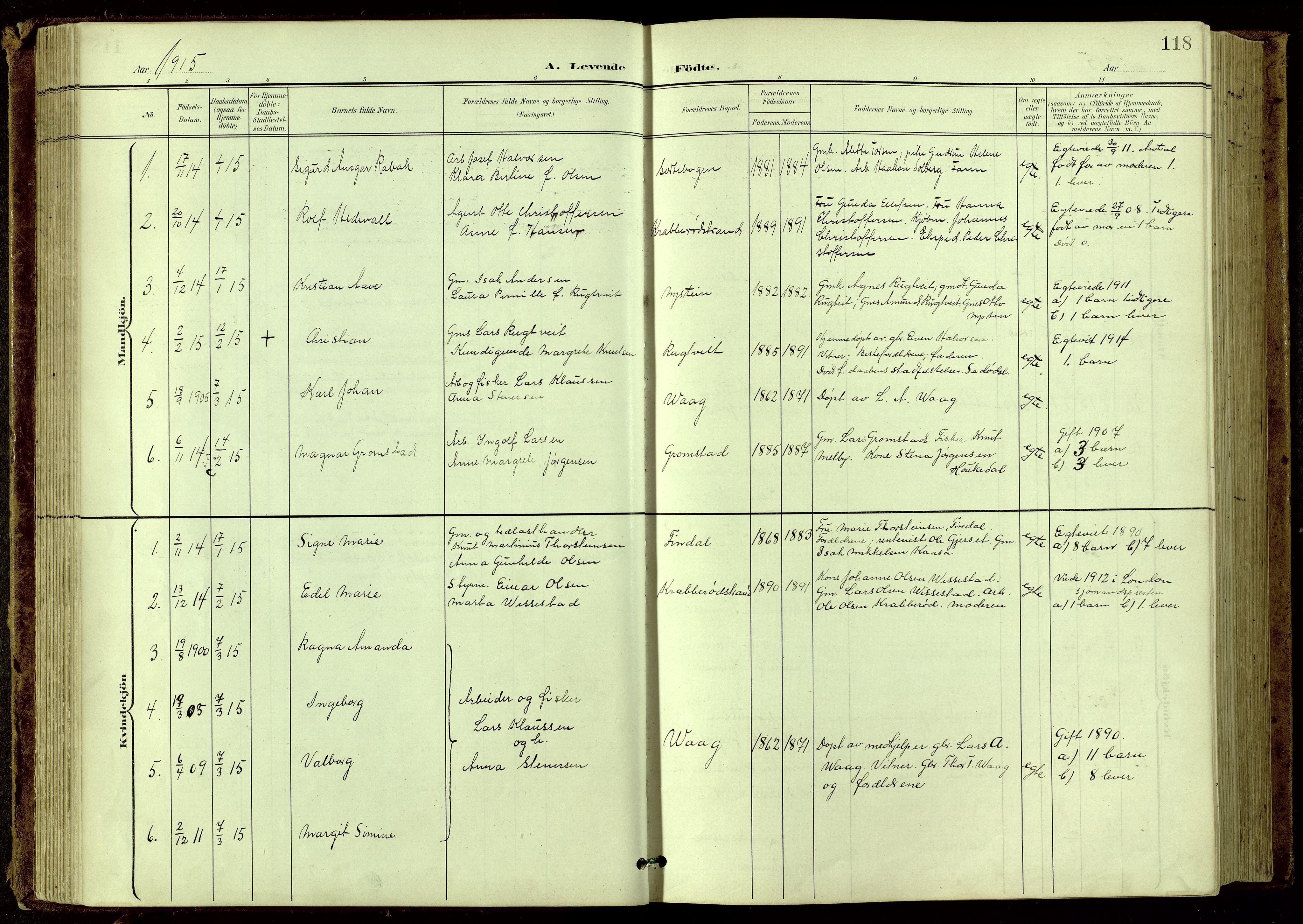 SAKO, Bamble kirkebøker, G/Ga/L0010: Klokkerbok nr. I 10, 1901-1919, s. 118