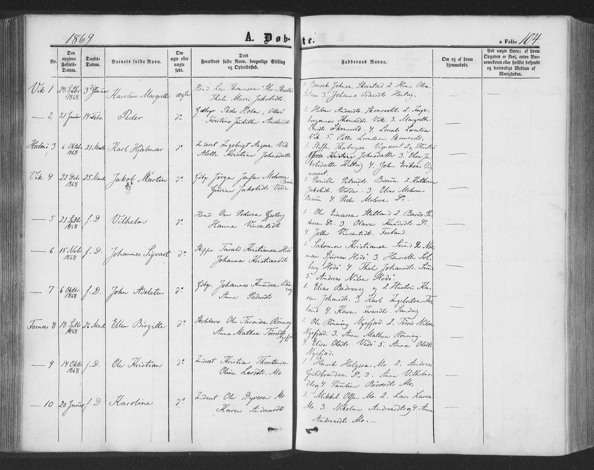SAT, Ministerialprotokoller, klokkerbøker og fødselsregistre - Nord-Trøndelag, 773/L0615: Ministerialbok nr. 773A06, 1857-1870, s. 104