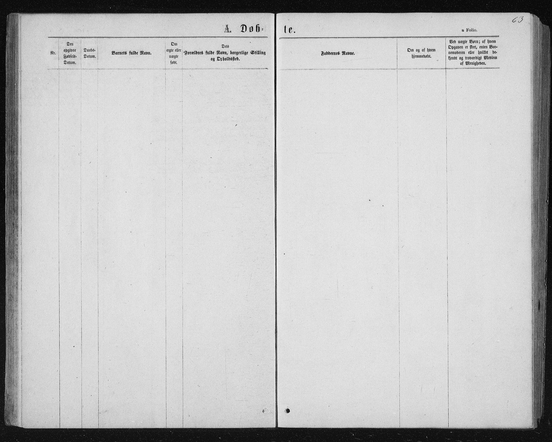 SAT, Ministerialprotokoller, klokkerbøker og fødselsregistre - Nord-Trøndelag, 722/L0219: Ministerialbok nr. 722A06, 1868-1880, s. 63