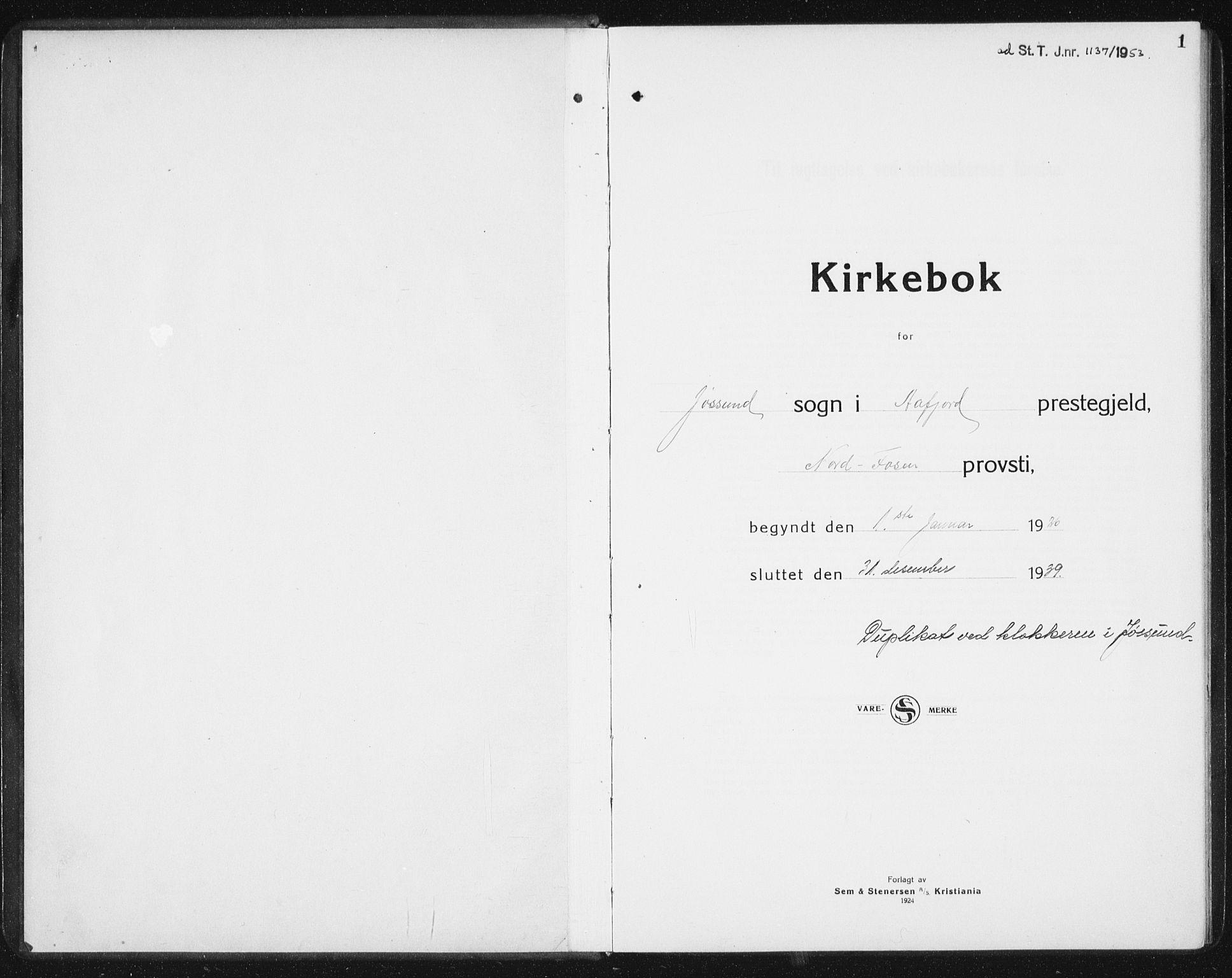 SAT, Ministerialprotokoller, klokkerbøker og fødselsregistre - Sør-Trøndelag, 654/L0667: Klokkerbok nr. 654C03, 1924-1939, s. 1