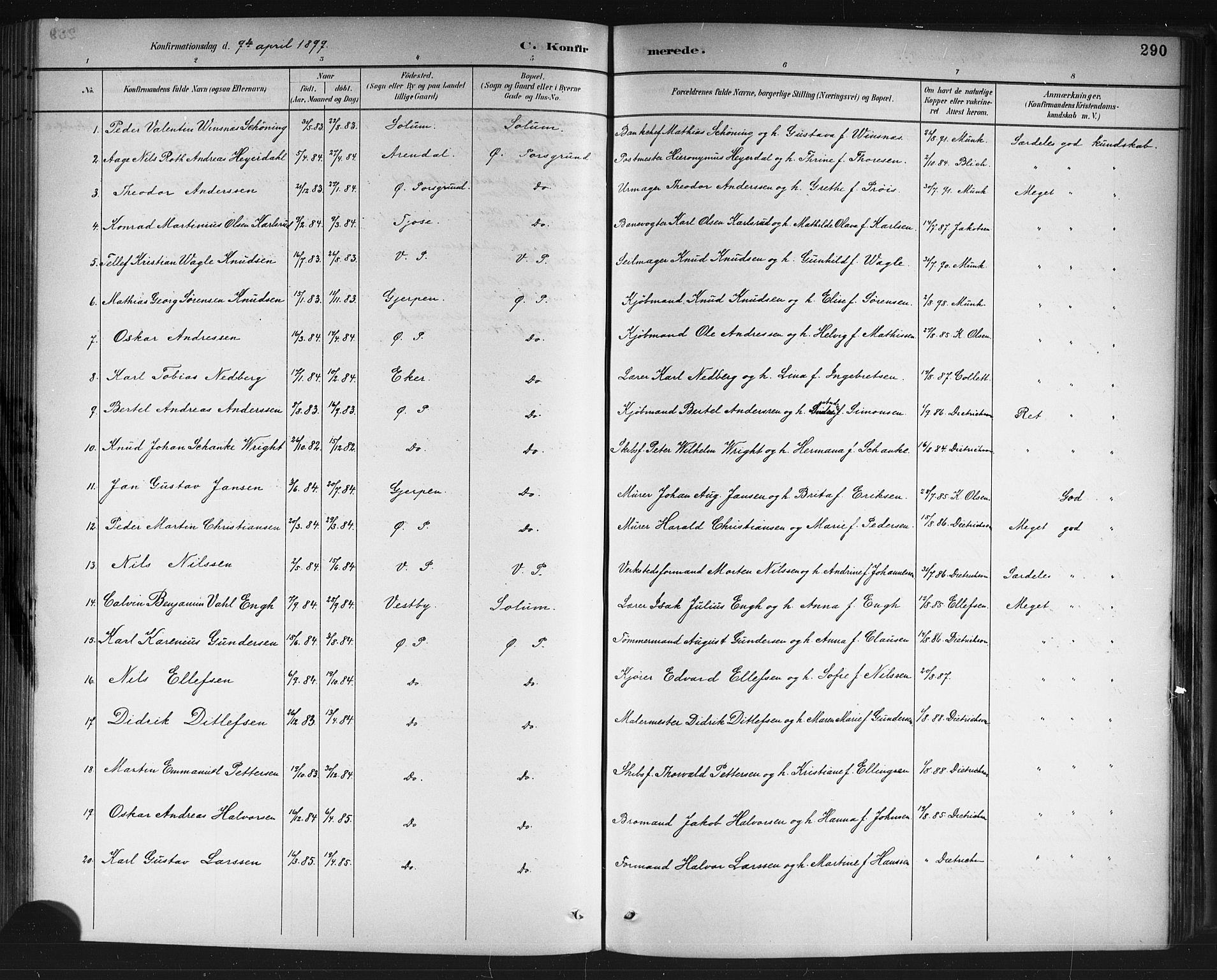SAKO, Porsgrunn kirkebøker , G/Gb/L0005: Klokkerbok nr. II 5, 1883-1915, s. 290