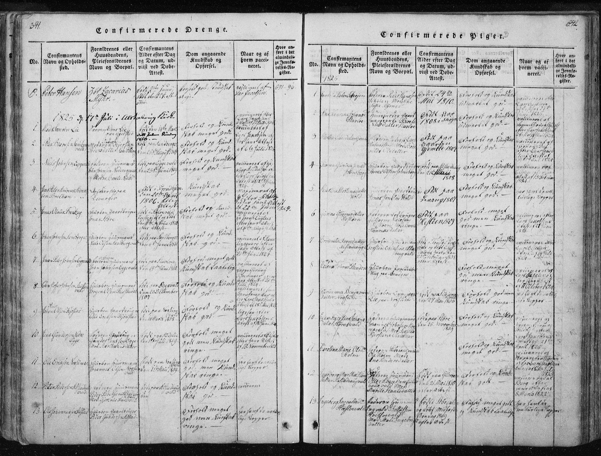SAT, Ministerialprotokoller, klokkerbøker og fødselsregistre - Nord-Trøndelag, 717/L0148: Ministerialbok nr. 717A04 /1, 1816-1825, s. 541-542