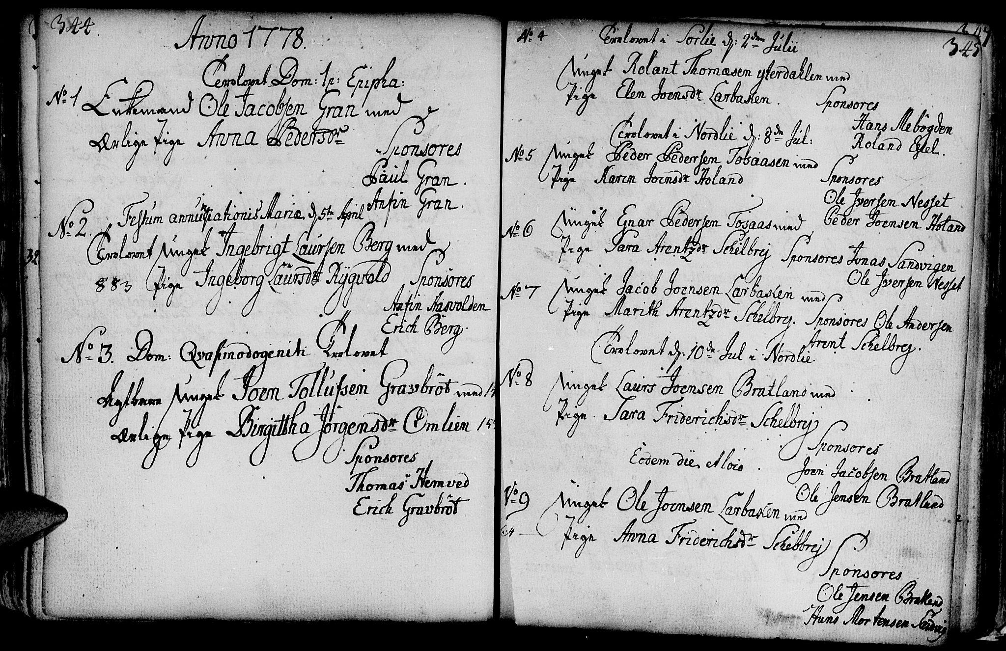 SAT, Ministerialprotokoller, klokkerbøker og fødselsregistre - Nord-Trøndelag, 749/L0467: Ministerialbok nr. 749A01, 1733-1787, s. 344-345