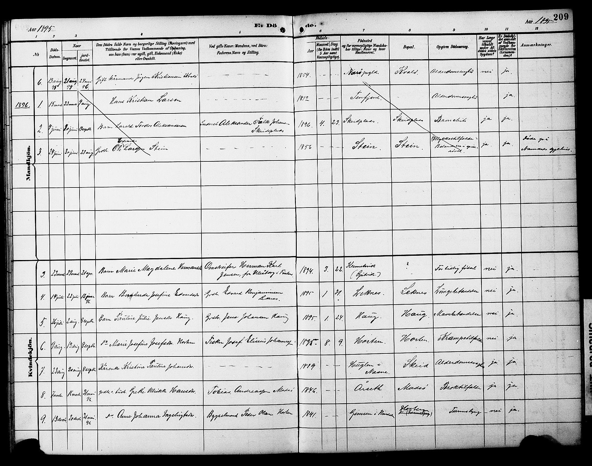 SAT, Ministerialprotokoller, klokkerbøker og fødselsregistre - Nord-Trøndelag, 788/L0701: Klokkerbok nr. 788C01, 1888-1913, s. 209