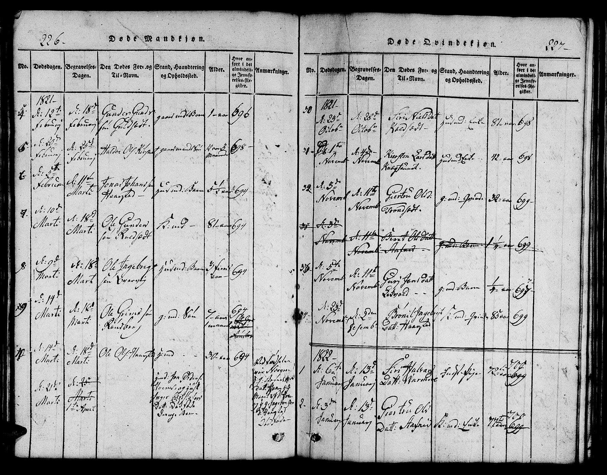 SAT, Ministerialprotokoller, klokkerbøker og fødselsregistre - Sør-Trøndelag, 695/L1152: Klokkerbok nr. 695C03, 1816-1831, s. 226-227