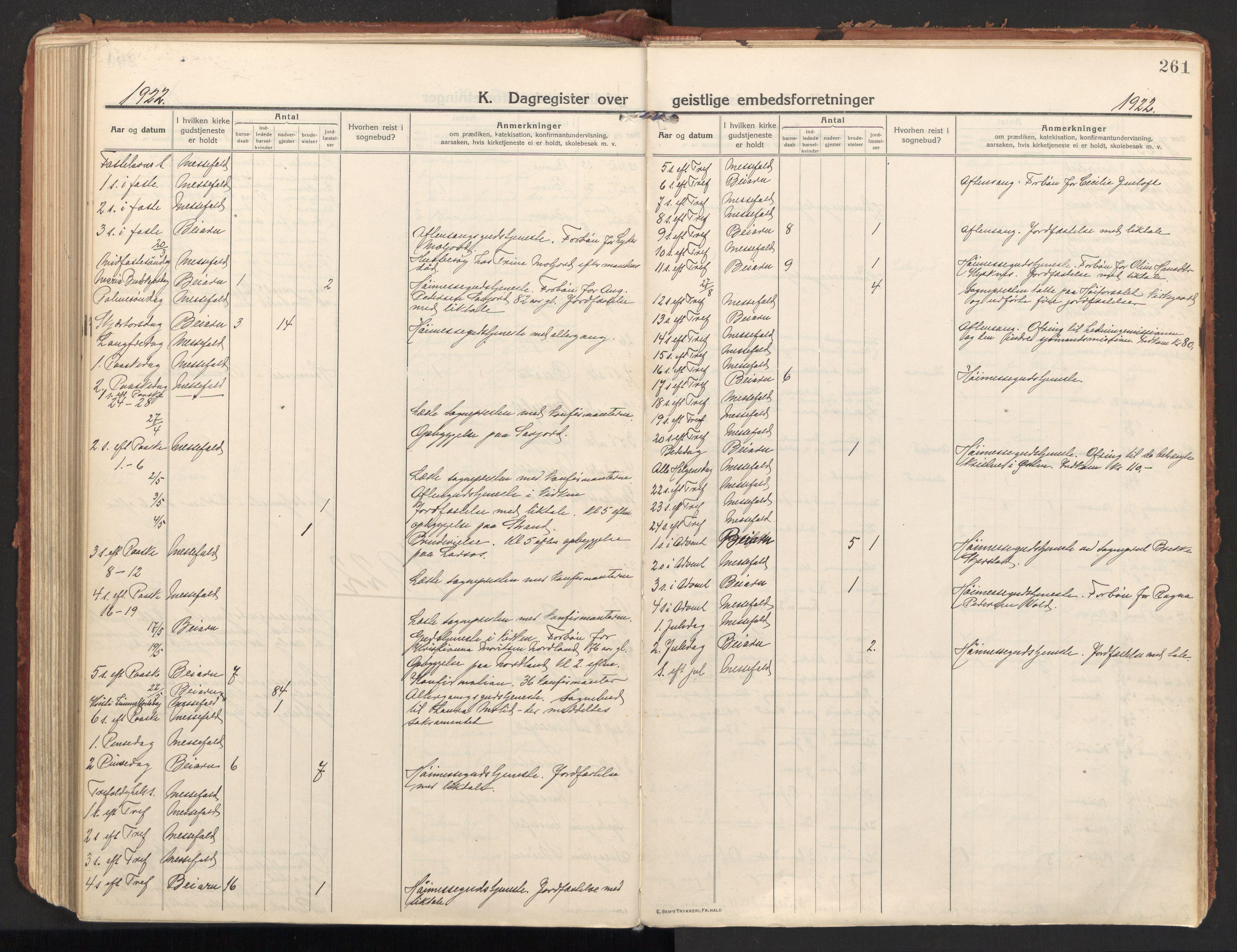 SAT, Ministerialprotokoller, klokkerbøker og fødselsregistre - Nordland, 846/L0650: Ministerialbok nr. 846A08, 1916-1935, s. 261