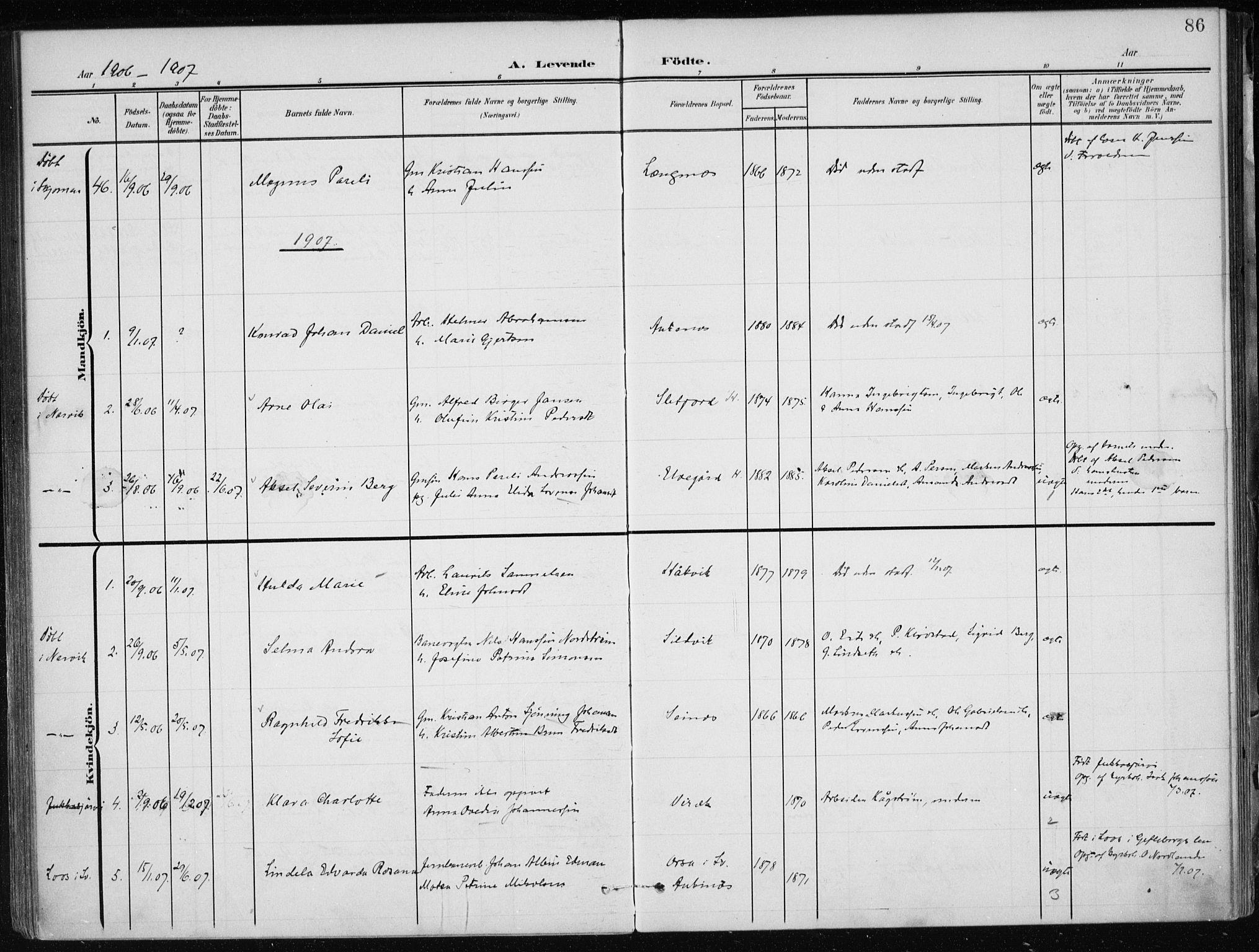 SAT, Ministerialprotokoller, klokkerbøker og fødselsregistre - Nordland, 866/L0941: Ministerialbok nr. 866A04, 1901-1917, s. 86