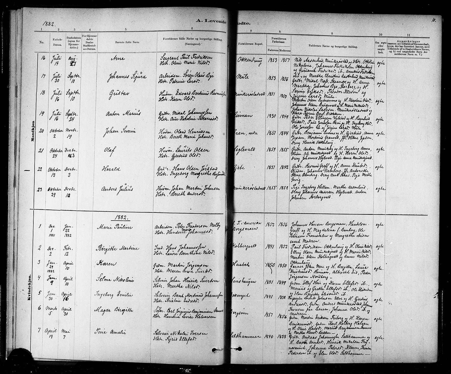 SAT, Ministerialprotokoller, klokkerbøker og fødselsregistre - Nord-Trøndelag, 721/L0208: Klokkerbok nr. 721C01, 1880-1917, s. 10
